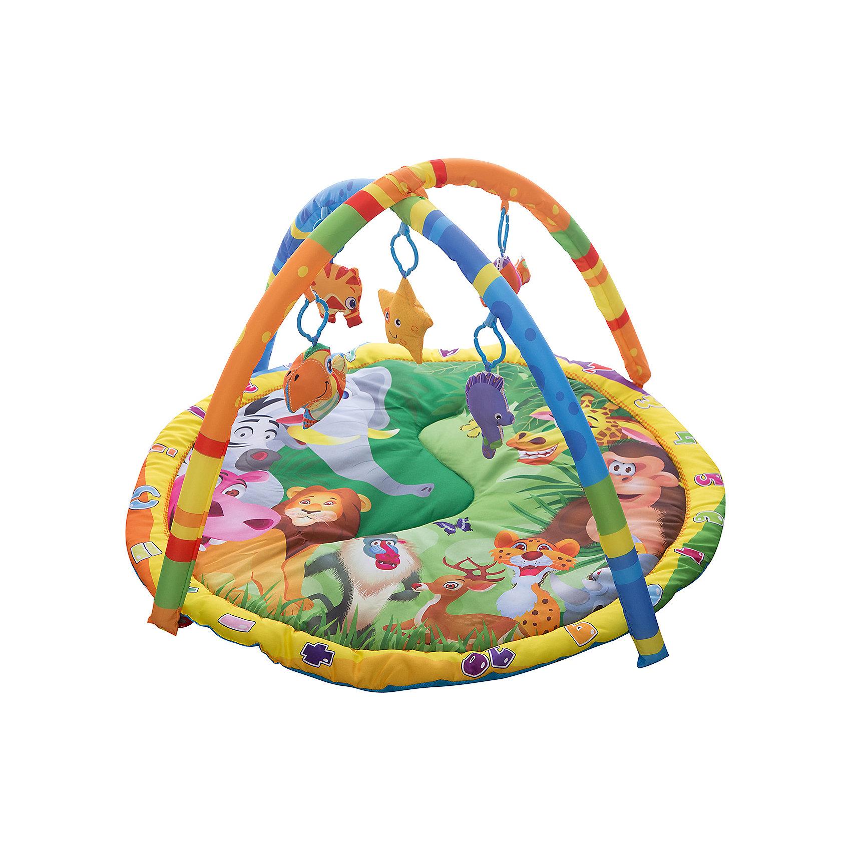 Детский игровой коврик с мягкими игрушками на подвеске, УмкаРазвивающие коврики<br>Детский игровой коврик, произведенный из текстиля с наполнителем позволяет безопасно находится на нем вашему малышу. Внимание ребенка привлекут мягкие съемные игрушки в виде животных. Коврик так же имеет звуковые эффекты.<br><br>Ширина мм: 80<br>Глубина мм: 460<br>Высота мм: 580<br>Вес г: 1110<br>Возраст от месяцев: 3<br>Возраст до месяцев: 12<br>Пол: Унисекс<br>Возраст: Детский<br>SKU: 5099027