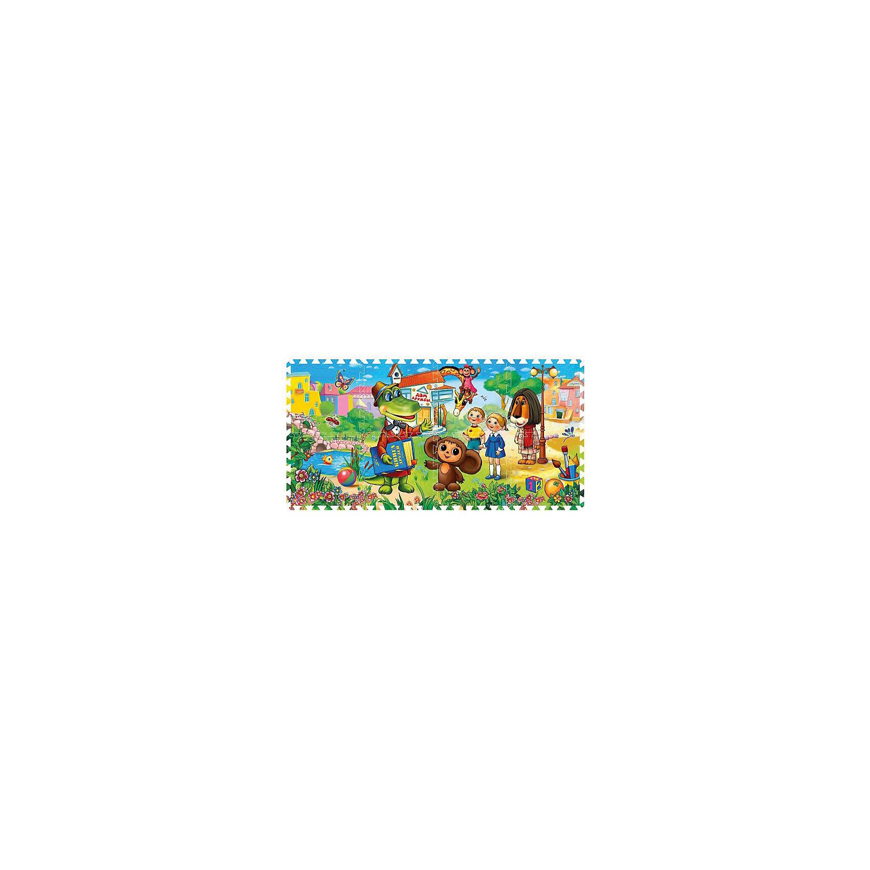 Коврик-пазл Чебурашка, Играем вместеКоврик-пазл состоит из 8 элементов и создан по мотивам популярного мультфильма. Коврик выполнен из современного полимерного материала, обладает плотностью и гибкостью, не рвется и служит хорошим теплоизолятором. Каждый сегмент содержит фрагмент изображения, при соединении которых получается целостная картинка. Развивает образно-пространственное мышление, логику, тренирует память, развивает моторику рук.<br><br>Ширина мм: 80<br>Глубина мм: 320<br>Высота мм: 320<br>Вес г: 560<br>Возраст от месяцев: 12<br>Возраст до месяцев: 36<br>Пол: Унисекс<br>Возраст: Детский<br>SKU: 5099048