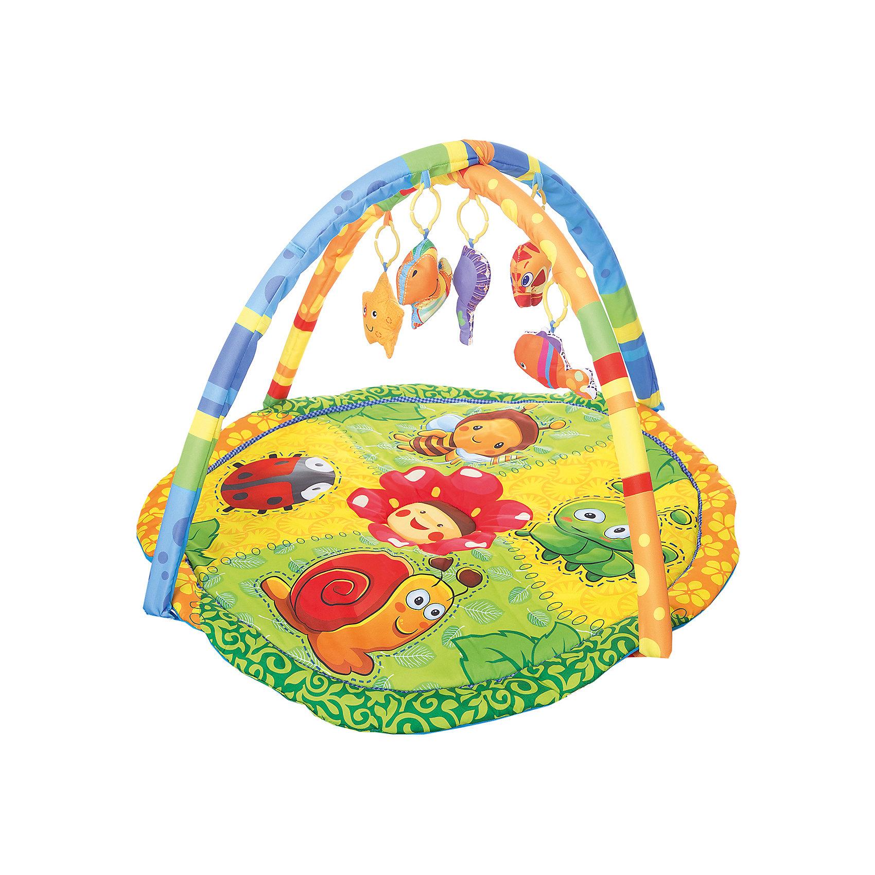 Детский игровой коврик с мягкими игрушками на подвеске, УмкаДетский игровой коврик, произведенный из текстиля с наполнителем позволяет безопасно находится на нем вашему малышу. Внимание ребенка привлекут мягкие 5 съемных игрушек в виде животных. Коврик так же имеет звуковые эффекты.<br><br>Ширина мм: 80<br>Глубина мм: 600<br>Высота мм: 460<br>Вес г: 1110<br>Возраст от месяцев: 6<br>Возраст до месяцев: 36<br>Пол: Унисекс<br>Возраст: Детский<br>SKU: 5099052