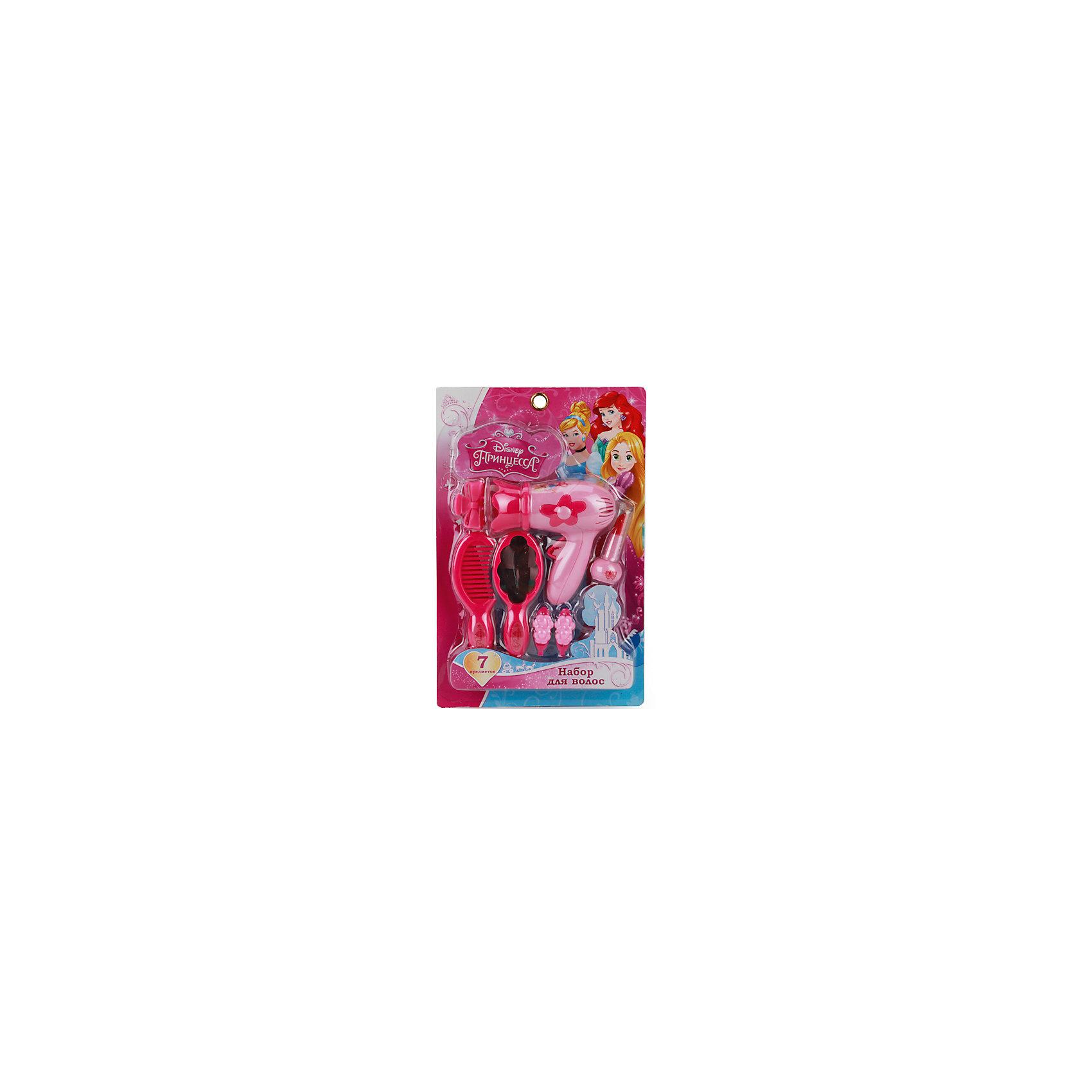 Набор аксессуаров для девочек Принцессыс феном, Играем вместеНабор для девочек выполнен в стиле принцесс Disney. В набор входят: фен, расческа, зеркальце, помада, заколка и красивые сережки, которые сделают игру более увлекательной. Набор изготовлен из качественного пластика и нетоксичных красителей<br><br>Ширина мм: 40<br>Глубина мм: 260<br>Высота мм: 170<br>Вес г: 170<br>Возраст от месяцев: 36<br>Возраст до месяцев: 72<br>Пол: Женский<br>Возраст: Детский<br>SKU: 5099058