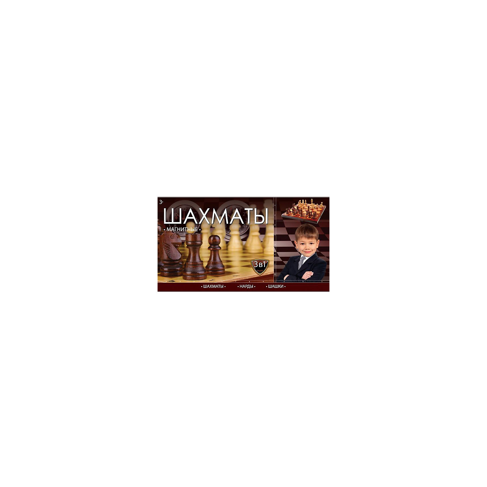 Шахматы магнитные 3-В-1 ( шахматы, шашки, нарды), Играем вместеСпортивные настольные игры<br>Набор из 3 магнитных игр ( шахматы, шашки, нарды) Все игры развивают логическое и стратегическое мышление. Все 3 игры собраны в 1 компактной коробочке, что позволит взять ее с осбой в путешетствие. Игры изготовлены из качественного пластика.<br><br>Ширина мм: 30<br>Глубина мм: 110<br>Высота мм: 200<br>Вес г: 230<br>Возраст от месяцев: 72<br>Возраст до месяцев: 2147483647<br>Пол: Унисекс<br>Возраст: Детский<br>SKU: 5099059