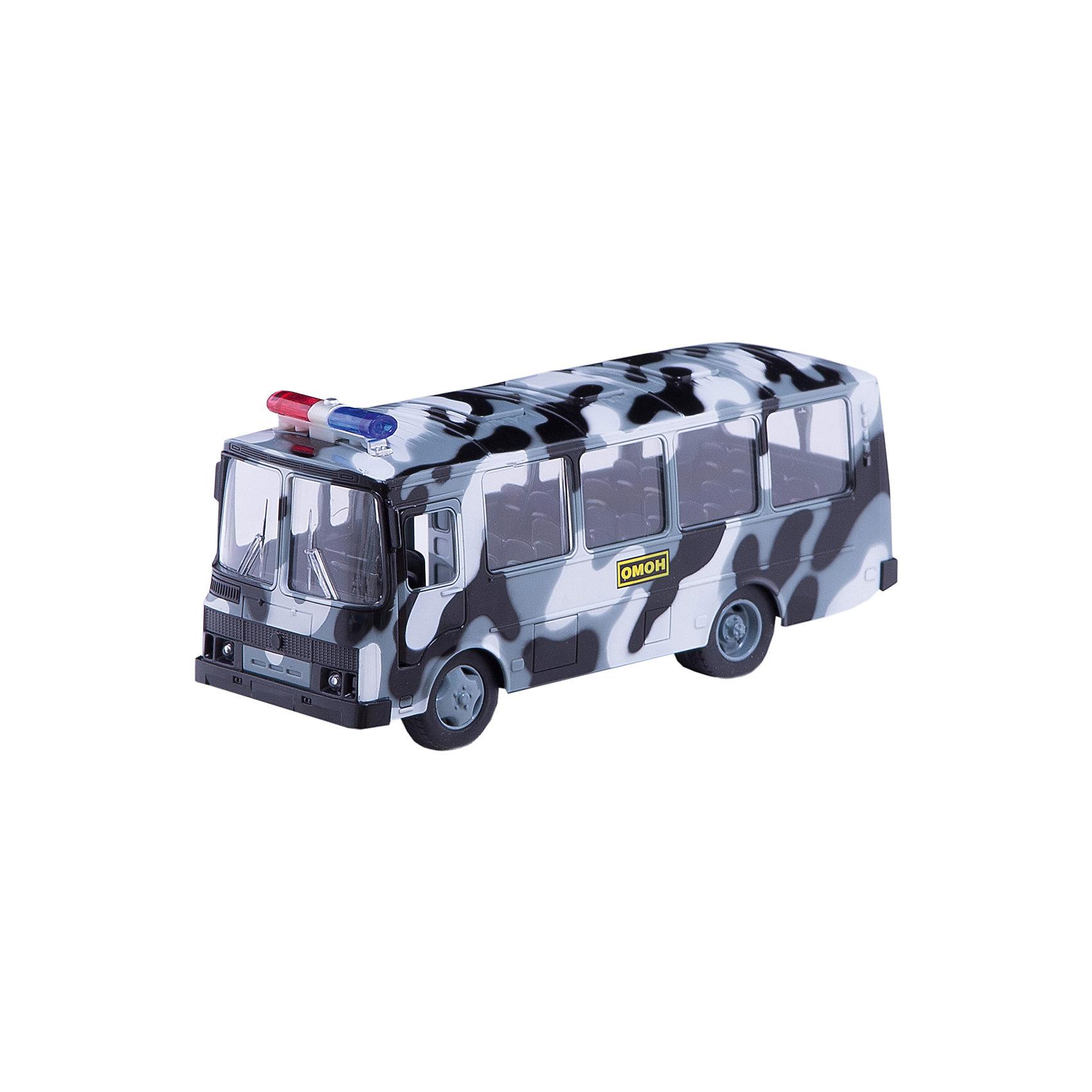 Автобус пластиковый ПАЗ Омон, ТехнопаркВоенный транспорт<br>Характеристики товара:<br><br>• цвет: серый<br>• материал: пластик, металл <br>• размер: 11 x 15 x 25 см<br>• двери открываются<br>• упаковка: коробка<br>• звуковые эффекты<br>• световые эффекты<br>• хорошая детализация<br>• инерционный<br>• страна бренда: Российская Федерация<br>• страна производства: Китай<br><br>Такая хорошо детализированная машинка от российского бренда Технопарк станет отличным подарком мальчику. Она выглядит практически как настоящая, только уменьшенная в масштабе 1:43. У игрушки открываются двери и капот, она дополнена звуковыми и световыми эффектами. Машинка инерционная: если провезти её задним ходом и отпустить - она сама поедет вперед.<br>Игры с машинками позволяют ребенку не только весело проводить время, но и развивать важные навыки: мелкую моторику, воображение, логику, мышление. Изделие произведено из сертифицированных материалов, безопасных для детей.<br><br>Автобус пластиковый ПАЗ Омон от бренда ТЕХНОПАРК можно купить в нашем интернет-магазине.<br><br>Ширина мм: 110<br>Глубина мм: 150<br>Высота мм: 250<br>Вес г: 420<br>Возраст от месяцев: 36<br>Возраст до месяцев: 108<br>Пол: Мужской<br>Возраст: Детский<br>SKU: 5099060