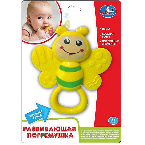 Погремушка-прорезыватель, УмкаПустышки<br>Погремушка-прорезыватель от производителя Умкав виде пчелки, помогут ребенку в трудный период роста первых зубов. Игрушка имеет удобную ручку. Выполнена из качественного пластика с нетоксичными красителями.<br>Ширина мм: 50; Глубина мм: 240; Высота мм: 180; Вес г: 110; Возраст от месяцев: 3; Возраст до месяцев: 12; Пол: Унисекс; Возраст: Детский; SKU: 5099069;
