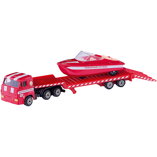 Набор Камаз: транспортер пожарный с лодкой, ТехнопаркМашинки<br>Характеристики товара:<br><br>• цвет: красный<br>• материал: пластик, металл <br>• размер упаковки: 21х11х4 см<br>• колеса со свободным ходом<br>• комплектация: автотртанспортер, лодка<br>• упаковка: коробка<br>• страна бренда: Российская Федерация<br>• страна производства: Китай<br><br>В этот набор входит автотртанспортер и лодка. Такая хорошо детализированная игрушка от российского бренда Технопарк станет отличным подарком мальчику. Предметы так похожи на настоящие! С ними можно придумать множество игр.<br>Игры с машинками позволяют ребенку не только весело проводить время, но и развивать важные навыки: мелкую моторику, воображение, логику, мышление. Изделие произведено из сертифицированных материалов, безопасных для детей.<br><br>Набор Камаз: транспортер пожарный с лодкой от бренда ТЕХНОПАРК можно купить в нашем интернет-магазине.<br><br>Ширина мм: 40<br>Глубина мм: 210<br>Высота мм: 110<br>Вес г: 120<br>Возраст от месяцев: 36<br>Возраст до месяцев: 120<br>Пол: Мужской<br>Возраст: Детский<br>SKU: 5099073