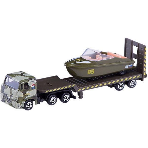 Набор Камаз:  транспортер военный с лодкой, ТехнопаркМашинки<br>Характеристики:<br><br>• тип игрушки: машина;<br>• возраст: от 3 лет;<br>• размер: 21х4х7 см;<br>• комплектация: камаз, прицеп, лодка;<br>• масштаб: 1:72;<br>• цвет: зеленый;<br>• материал: металл, пластик;<br>• бренд: Технопарк;<br>• страна производителя: Китай.<br><br>Машина Технопарк «Камаз: транспортер военный с лодкой»  включает военный грузовой автомобиль КАМАЗ с прицепом и лодка. Оба транспортных средства выполнены с четкой и подробной проработкой мельчайших деталей и очень похожи на настоящие. Через прозрачные стекла в кабине машины можно разглядеть салон. Грузовик и лодка имеют колеса на свободном ходу, что позволяет им ездить по любым ровным поверхностям. Прицеп оснащен аппарелью для погрузки и разгрузки, он легко отсоединяется от основной машины, и КАМАЗ может передвигаться самостоятельно. <br><br>Тематические игры с интересными сюжетами разбудят воображение ребёнка, а манипуляции с игрушкой потренируют мелкую моторику пальцев рук. Масштабные модели от компании «Технопарк» отличаются качественными ударопрочными материалами, продлевающими долговечность изделия тщательным исполнением со вниманием ко всем деталям, и имеют требуемые сертификаты соответствия для детских игрушек.<br><br>Машину Технопарк «Камаз: транспортер военный с лодкой»  можно купить в нашем интернет-магазине.<br>Ширина мм: 40; Глубина мм: 100; Высота мм: 210; Вес г: 120; Возраст от месяцев: 36; Возраст до месяцев: 120; Пол: Мужской; Возраст: Детский; SKU: 5099074;