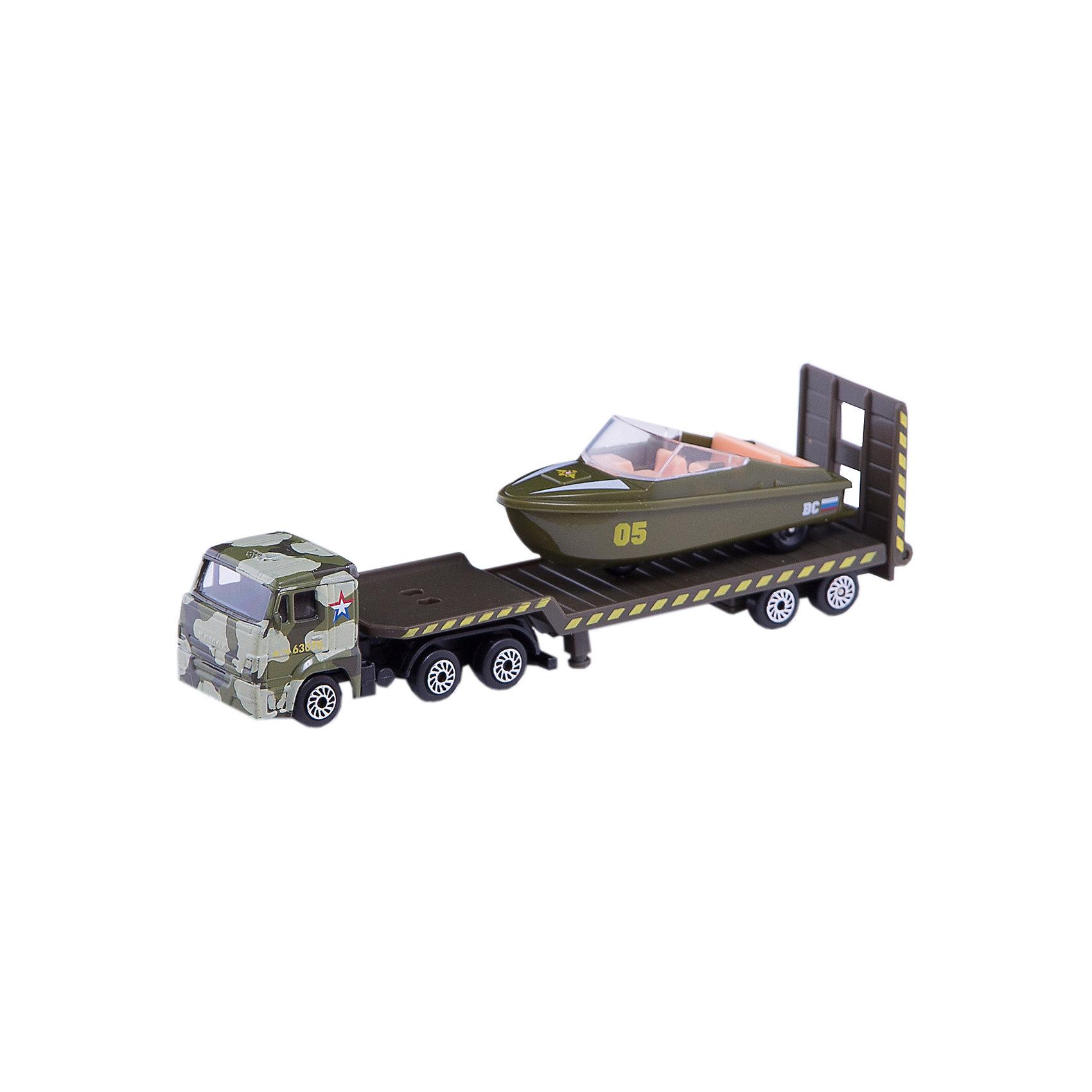 Набор Камаз:  транспортер военный с лодкой, ТехнопаркИгровые наборы<br>Набор Камаз:  транспортер военный с лодкой, Технопарк<br><br>Характеристики:<br><br>• борт машины опускается<br>• лодка может ездить самостоятельно<br>• материал: металл, пластик<br>• длина грузовика с прицепом: 15,5 см<br>• в комплекте: грузовик с прицепом, лодка<br>• размер упаковки: 22х5х11 см<br><br>Набор Камаз: транспортер военный с лодкой поможет ребенку раскрыть свою фантазию и придумать множество игр с машинами. В комплект входят грузовик с прицепом и лодка. Борт грузовика можно опустить, и тогда лодка сможет поехать самостоятельно, с помощью своих колес. Все детали поражают своей точностью. Машинки изготовлены из прочных материалов, устойчивых к деформации. Такой набор станет прекрасным подарком для вашего ребенка!<br><br>Набор Камаз: транспортер военный с лодкой вы можете купить в нашем интернет-магазине.<br><br>Ширина мм: 40<br>Глубина мм: 100<br>Высота мм: 210<br>Вес г: 120<br>Возраст от месяцев: 36<br>Возраст до месяцев: 120<br>Пол: Мужской<br>Возраст: Детский<br>SKU: 5099074