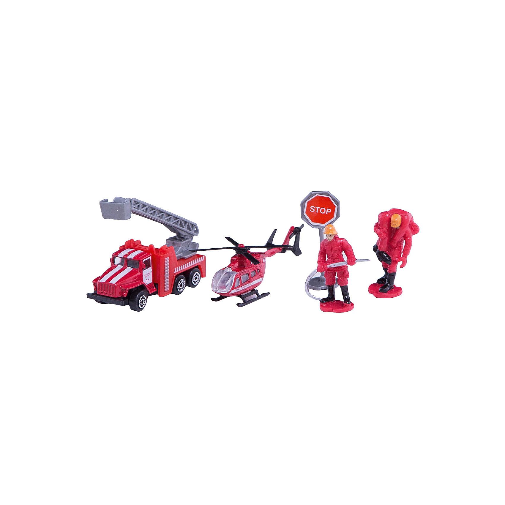Набор Пожарная техника: Урал + вертолет с аксессуарами, ТехнопаркНабор представлен пожарной техникой с фигурками пожарных и аксессуарами.  Набор состоит из черырех предметов: 1. коллекционная модель пожарной машины Урал исполнена в красном цвете, на дверях имеются специальные надписи, лестница выдвигается для имитации тушения пожара высотных сооружений.<br>2. корпус вертолёта имеет красный цвет, на борту имеются специальные надписи. <br>3. 2 фигурки пожарных исполнены в костюмах пожарников<br>4. дорожный знак «Stop» имеет устойчивую ножку.  Модели изготовлены из качественного металла и не подвержены деформациям.<br><br>Ширина мм: 50<br>Глубина мм: 120<br>Высота мм: 230<br>Вес г: 130<br>Возраст от месяцев: 36<br>Возраст до месяцев: 120<br>Пол: Мужской<br>Возраст: Детский<br>SKU: 5099078