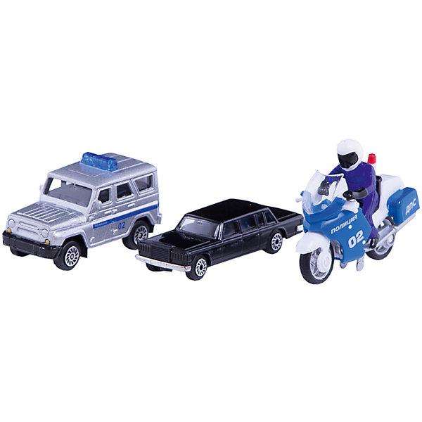 Набор Президенский кортеж ( ЗИЛ +УАЗ + Мотоцикл), ТехнопаркМашинки<br>Набор представлен 2-я машинками и мотоциклом, которые используются для сопровождения первых лиц государства в поездках. в наборе представлено 3 предмета: 1. коллекционная модель машины ЗИЛ исполнена в чёрном цвете,<br>2. корпус полицейской модели УАЗ имеет белый цвет, с синей полосой, на борту имеются специальные надписи. <br>3. полицейский мотоцикл выполнен с фигуркой полицейского в форме и шлеме. Модели изготовлены из качественного металла и не подвержены деформациям.<br><br>Ширина мм: 50<br>Глубина мм: 120<br>Высота мм: 230<br>Вес г: 190<br>Возраст от месяцев: 36<br>Возраст до месяцев: 120<br>Пол: Мужской<br>Возраст: Детский<br>SKU: 5099079