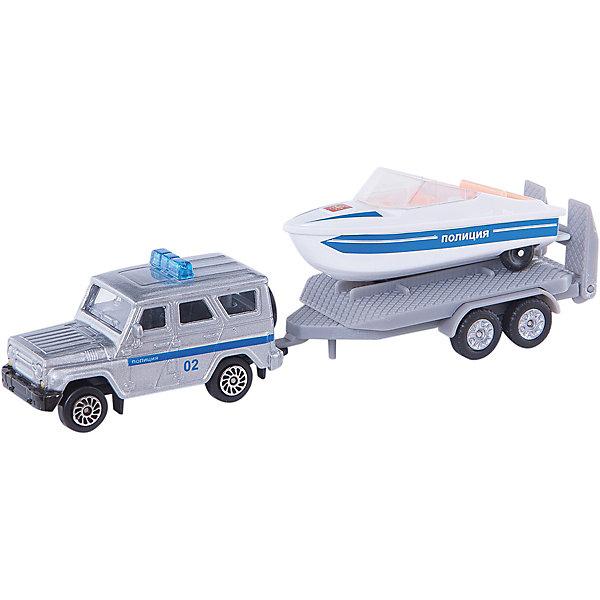 Набор Полиция (Уаз с лодкой), ТехнопаркМашинки<br>Набор Полиция (Уаз с лодкой), Технопарк<br><br>Характеристики:<br><br>• Возраст: от 4 лет<br>• В комплекте: машина, прицеп, лодка<br>• Материал: металл, пластик<br>• Цвет: белый, синий<br><br>Игровой набор включает в себя уменьшенную копию полицейской машины. Кроме этого в комплекте есть прицеп и полицейская лодка. Все это поможет ребенку создать целый спектакль. Все игрушки сделаны из качественного материала, который не только безопасен для ребенка, но еще и очень крепок. <br><br>Набор Полиция (Уаз с лодкой), Технопарк можно купить в нашем интернет-магазине.<br>Ширина мм: 60; Глубина мм: 110; Высота мм: 220; Вес г: 140; Возраст от месяцев: 36; Возраст до месяцев: 72; Пол: Мужской; Возраст: Детский; SKU: 5099087;