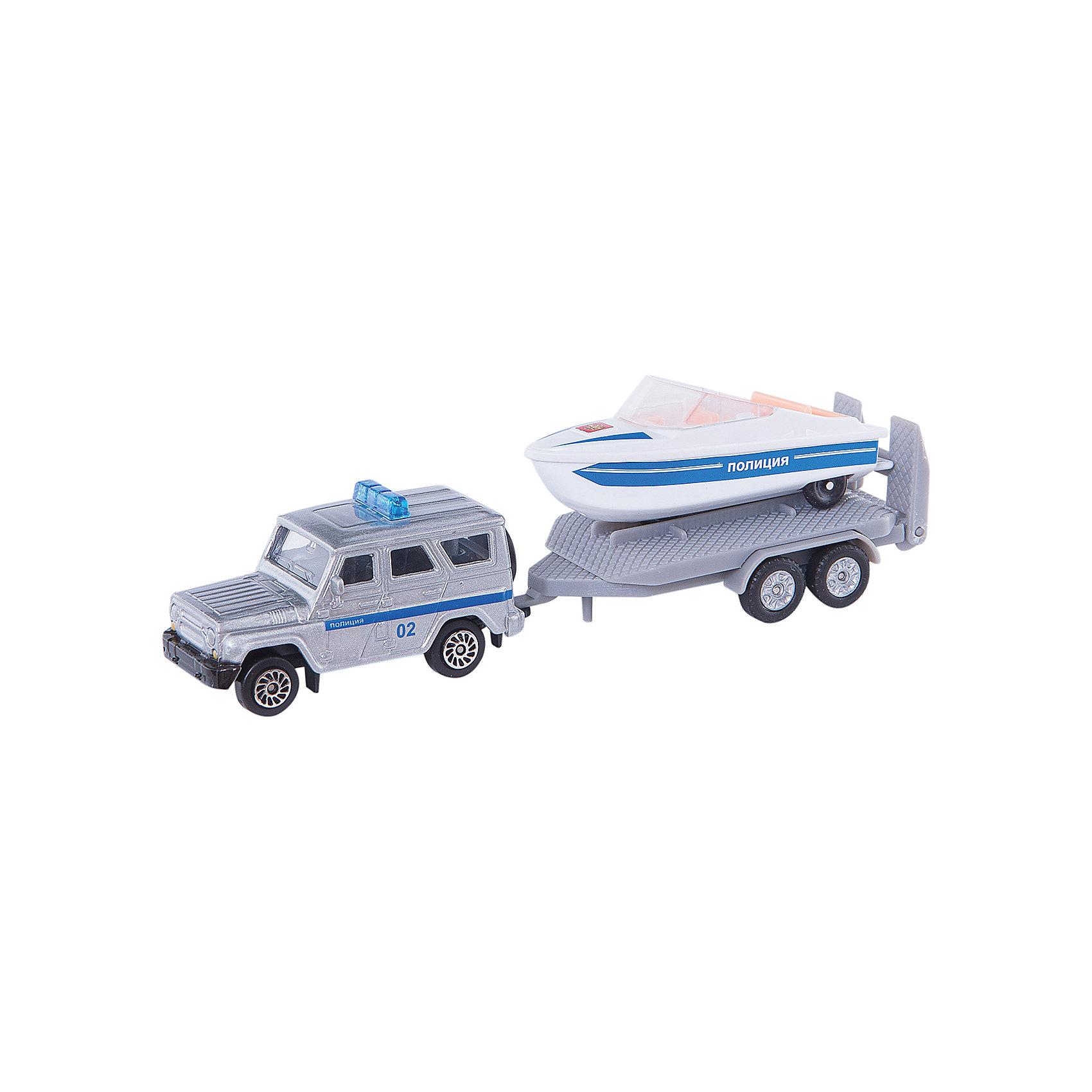 ТЕХНОПАРК Набор Полиция (Уаз с лодкой), Технопарк машинки технопарк набор из 2 х металлических моделей технопарк уаз полиция