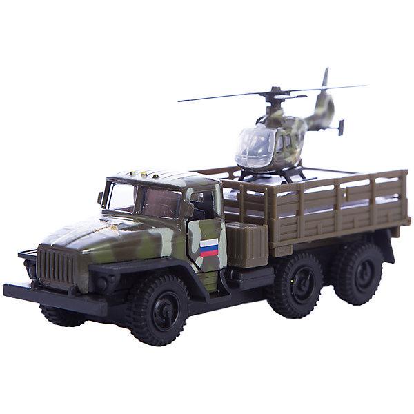 Машина Урал с вертолетом, ТехнопаркСамолёты и вертолёты<br>Характеристика:<br><br>- Возраст: от 3 лет.<br>- В комплекте: машина, вертолет. <br>- Материал: металл, пластик.<br>- Размер упаковки: 17х15х6 см.<br><br>Прекрасный подарочный набор для мальчика!<br>Игрушка выглядит очень реалистично, а еще, у автомобиля открываются капот и двери кабины, причем под капотом можно увидеть детали двигателя.<br><br>Машина Урал с вертолетом, можно купить в нашем магазине.<br>Ширина мм: 50; Глубина мм: 150; Высота мм: 170; Вес г: 170; Возраст от месяцев: 36; Возраст до месяцев: 72; Пол: Мужской; Возраст: Детский; SKU: 5099089;