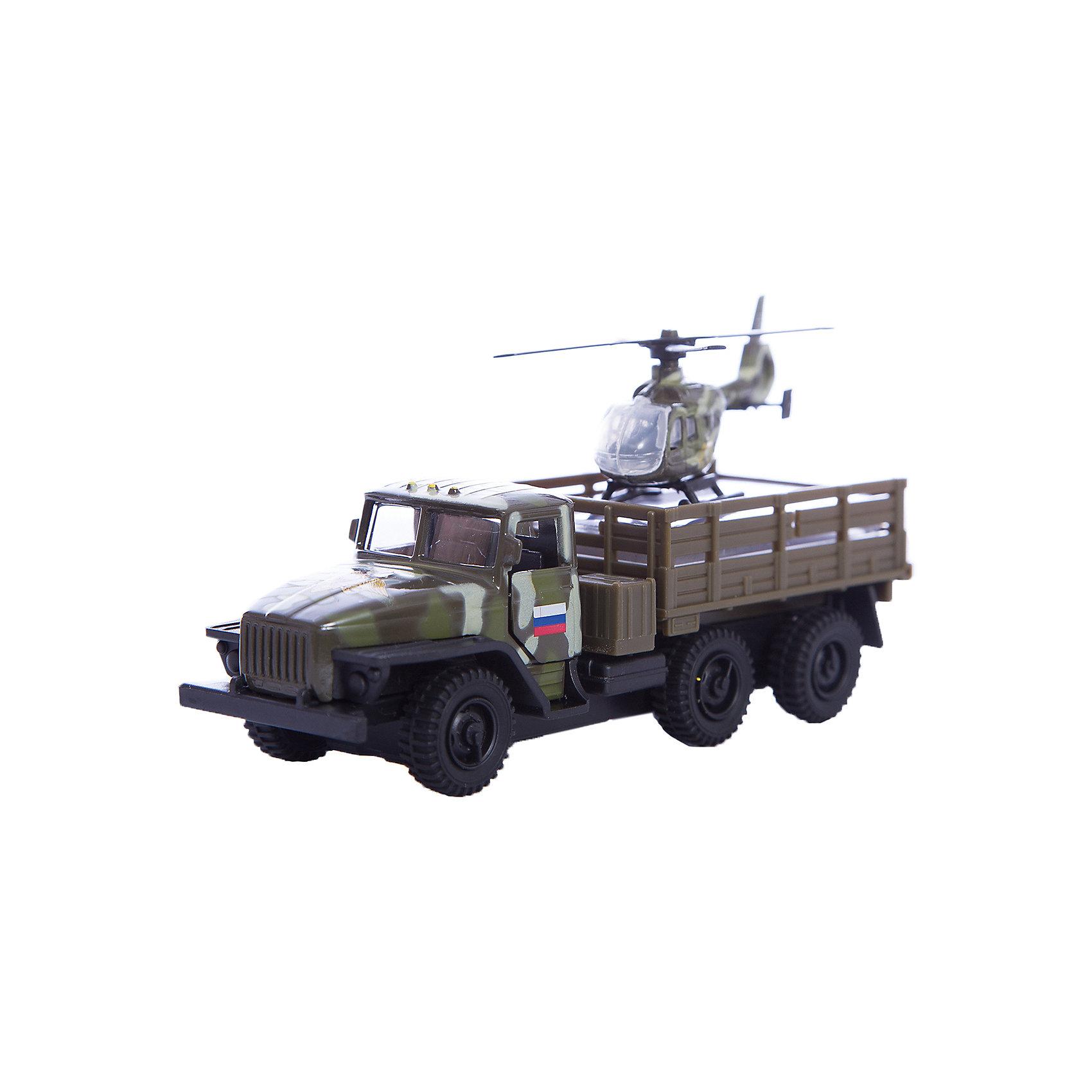 Машина Урал с вертолетом, ТехнопаркКоллекционные модели<br>Характеристика:<br><br>- Возраст: от 3 лет.<br>- В комплекте: машина, вертолет. <br>- Материал: металл, пластик.<br>- Размер упаковки: 17х15х6 см.<br><br>Прекрасный подарочный набор для мальчика!<br>Игрушка выглядит очень реалистично, а еще, у автомобиля открываются капот и двери кабины, причем под капотом можно увидеть детали двигателя.<br><br>Машина Урал с вертолетом, можно купить в нашем магазине.<br><br>Ширина мм: 50<br>Глубина мм: 150<br>Высота мм: 170<br>Вес г: 170<br>Возраст от месяцев: 36<br>Возраст до месяцев: 72<br>Пол: Мужской<br>Возраст: Детский<br>SKU: 5099089
