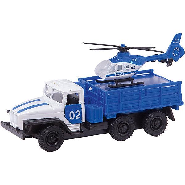 Машина Урал с вертолетом, ТехнопаркСамолёты и вертолёты<br>Характеристики:<br><br>• тип игрушки: машина;<br>• возраст: от 3 лет;<br>• размер: 5х15х21 см;<br>• цвет: синий;<br>• материал: металл, пластик;<br>• бренд: Технопарк;<br>• страна производителя: Китай.<br><br>Машина Технопарк «Урал с вертолетом»  порадует юных любителей специализированной техники. Игрушки имеют высокую степень детализации и выглядят весьма реалистично. Набор изготовлен из пластика и металла, что придает ему прочность и устойчивость к небольшим столкновениям. Машинка и вертолет оснащены световыми и звуковыми эффектами, которые делают игру намного интересней.<br><br>Тематические игры с интересными сюжетами разбудят воображение ребёнка, а манипуляции с игрушкой потренируют мелкую моторику пальцев рук. Масштабные модели от компании «Технопарк» отличаются качественными ударопрочными материалами, продлевающими долговечность изделия тщательным исполнением со вниманием ко всем деталям, и имеют требуемые сертификаты соответствия для детских игрушек.<br><br>Машину Технопарк «Урал с вертолетом»  можно купить в нашем интернет-магазине.<br>Ширина мм: 50; Глубина мм: 150; Высота мм: 170; Вес г: 170; Возраст от месяцев: 36; Возраст до месяцев: 72; Пол: Мужской; Возраст: Детский; SKU: 5099092;