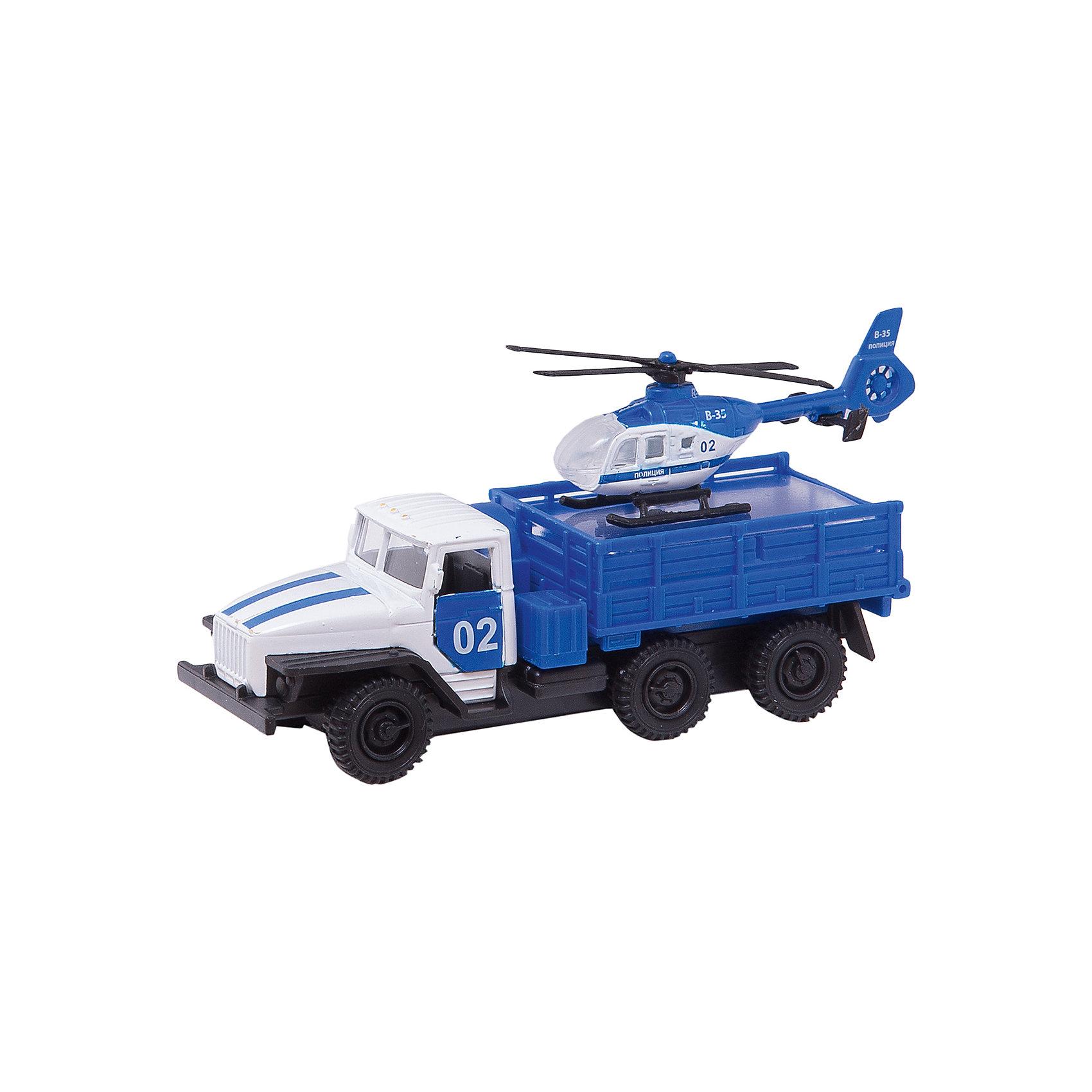Машина Урал с вертолетом, ТехнопаркКоллекционные модели<br>Характеристика:<br><br>- Возраст: от 3 лет.<br>- В комплекте: машина, вертолет. <br>- Материал: металл, пластик.<br>- Размер упаковки: 17х15х6 см.<br><br>Прекрасный подарочный набор для мальчика!<br>Игрушка выглядит очень реалистично, а еще, у автомобиля открываются капот и двери кабины, причем под капотом можно увидеть детали двигателя.<br><br>Машина Урал с вертолетом, можно купить в нашем магазине.<br><br>Ширина мм: 50<br>Глубина мм: 150<br>Высота мм: 170<br>Вес г: 170<br>Возраст от месяцев: 36<br>Возраст до месяцев: 72<br>Пол: Мужской<br>Возраст: Детский<br>SKU: 5099092