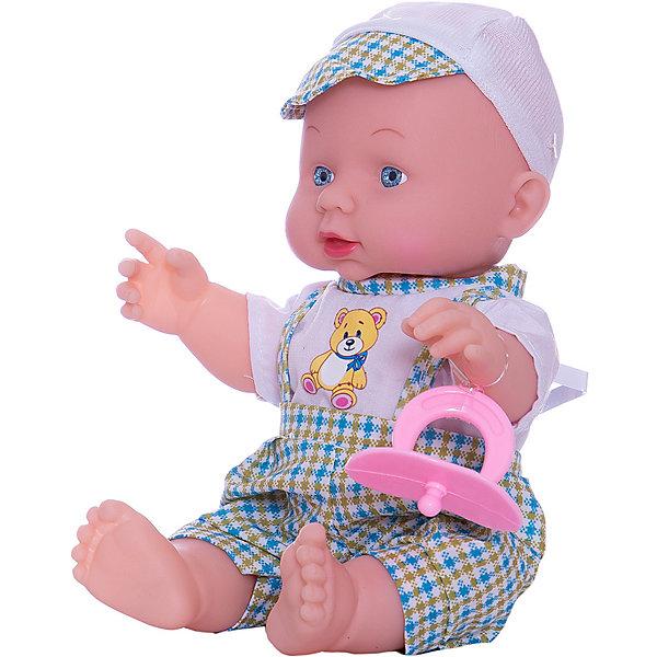 Пупс Карапуз , КарапузБренды кукол<br>Этот маленький малыш понравится любой девочке! Нажмите на кнопку на животе пупса и он расскажет стихи Мишка, Зайка, Бычоки споет песенку ЛошадкаАгнии Барто. У него подвижные ручки и ножки, твердое тело. Высота пупса 25 см. Батарейки входят в комплект.<br><br>Ширина мм: 110<br>Глубина мм: 180<br>Высота мм: 210<br>Вес г: 380<br>Возраст от месяцев: 12<br>Возраст до месяцев: 60<br>Пол: Женский<br>Возраст: Детский<br>SKU: 5099098