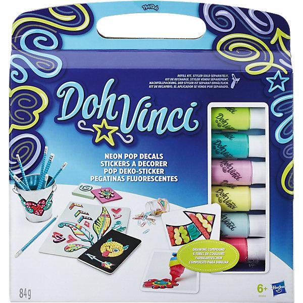Набор для творчества Hasbro DohVinci Стикеры ДавинчиНаборы стилиста и дизайнера<br>Характеристики товара:<br><br>• возраст: от 6 лет;<br>• материал: пластик, полимер;<br>• в комплекте: 3 набора стикеров, 6 картриджей;<br>• размер упаковки: 29,8х27,9х5,1 см;<br>• вес упаковки: 335 гр.;<br>• страна производитель: Китай.<br><br>Набор для творчества «Стикеры Давинчи» DohVinci Hasbro позволит детям украсить любые предметы, блокноты, тетради, проявляя фантазию и воображение. При помощи картриджей можно создавать на поверхности оригинальные узоры.<br><br>Картриджи используются только вместе со специальным стайлером. Пластилин для узоров не липнет к рукам и одежде, не пачкает их и быстро сохнет. Он не содержит опасных токсичных компонентов.<br><br>Набор для творчества «Стикеры Давинчи» DohVinci Hasbro B8954 можно приобрести в нашем интернет-магазине.<br>Ширина мм: 299; Глубина мм: 281; Высота мм: 55; Вес г: 341; Возраст от месяцев: 72; Возраст до месяцев: 2147483647; Пол: Женский; Возраст: Детский; SKU: 5099877;