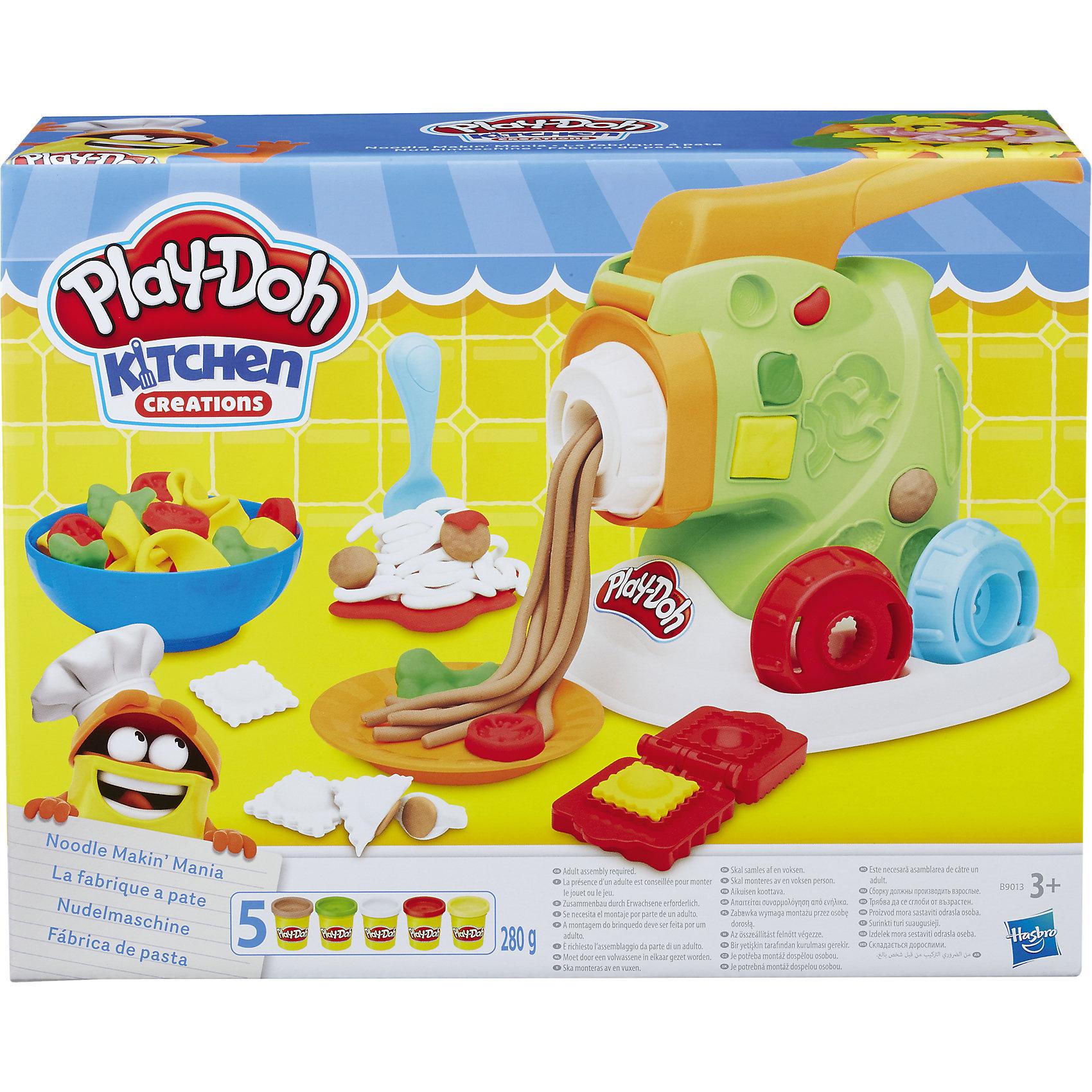 Игровой набор Машинка для лапши, Play-DohЛепка<br>Игровой набор Машинка для лапши, Play-Doh<br><br>Характеристики:<br><br>- в набор входит: 5 цветов теста, машинка для лапши, подставка, 4 насадки, 2 тарелки-формы, форма для пельменей, ножичек <br>- состав теста: вода, мука, соль, красители<br>- размер упаковки: 28 * 8 * 22 см.<br>- вес: 840 гр.<br>- для детей в возрасте: от 3 до 7 лет<br>- Страна производитель: Китай<br><br>Тесто для лепки Play-Doh (Плей-До) от известного американского производителя товаров для детей Hasbro (Хасбро) понравится детям, которые знакомятся с лепкой. Мягкое, безопасное, нетоксичное тесто состоит из натуральных компонентов, не прилипает к пальчикам и прекрасно смешивается между собой. Этот набор отличается своей оригинальной тематикой и понравится детишкам интересующимся кухней и тем, как же готовят лапшу и макароны. Машинка для лапши идет в комплекте с практичной подставкой, в которую вставляются 4 насадки для разного типа лапши. Специальные выемки-формочки на машинке помогут сделать макароны в форме бантиков, зайчиков, паравозика, ракушки, листика, колесика, а также и другие продукты – грибы, креветки, кольца морковки, чтобы ваша паста была незабываемой! <br><br>Небольшая скалочка входит в набор и помогает раскатывать тесто перед использованием форм. Крутящийся пластиковый ножичек с волнистым лезвием сделает отличную волнистую работу на кухне. Формочка для пельменей-равиолли поможет поместить начинку в серединку и сделать отличное блюдо! На обратной стороне тарелочки формочки салата и перчика, а в глубокой тарелки отпечатки помидора, сельдерея и редиса. В набор вошли пять отдельных закрывающихся баночек с желтым, красным, зеленым, белым и светло-бежевым тестом. <br><br>Цвета теста можно легко комбинировать между собой и смешивать, можно купить любое тесто для лепки Play-Doh (Плей-До) и оно сможет смешаться с тестом из набора. Не рекомендуется хранить тесто для лепки на открытом воздухе. Работа с тестом для лепки помогает развить моторик