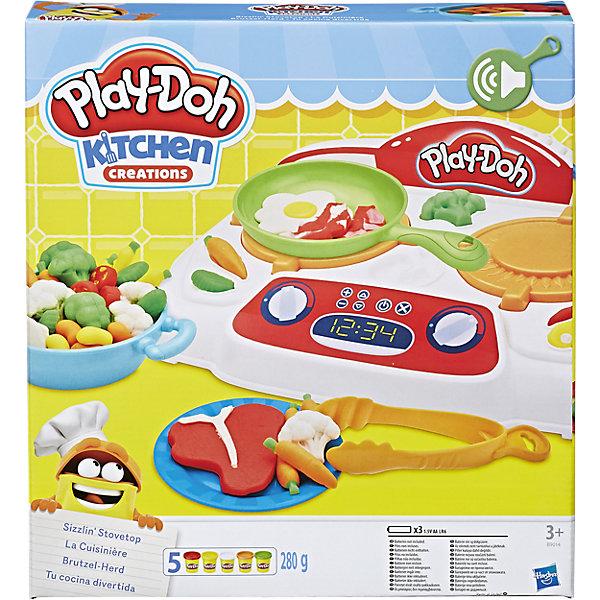 Игровой набор Кухонная плита, Play-DohНаборы для лепки<br>Игровой набор Кухонная плита, Play-Doh (Плей До).<br><br>Характеристика: <br><br>• Материал: пластик, пластилин. <br>• Размер упаковки: 31,3x27,6x34,6 см.<br>• В комплекте: электронная плита, 4 тумбы, 2 сковородки, щипцы, шпатель, нож, вилка, и 5 стандартных баночек пластилина . <br>• Отличная детализация. <br>• Яркий привлекательный дизайн. <br>• Элемент питания: 3 АА батарейки (не входят в комплект). <br>• После окончания игры пластилин хранить в плотно закрытой банке. <br>• Лепка отлично развивает моторику рук, воображение, мышление. <br><br>С этим ярким набором от Play-Doh ребенок сможет почувствовать себя настоящим поваром! Отлично проработанные аксессуары и электронная плита сделают игры еще реалистичнее и интереснее. Мягкий пластилин выполнен из высококачественных экологичных материалов при использовании только безопасных нетоксичных красителей. Тесто-пластилин Play-Doh очень пластичное, хорошо смывается с рук и одежды.<br><br>Игровой набор Кухонная плита, Play-Doh (Плей До) можно купить в нашем интернет-магазине.<br><br>Ширина мм: 334<br>Глубина мм: 304<br>Высота мм: 68<br>Вес г: 861<br>Возраст от месяцев: 36<br>Возраст до месяцев: 72<br>Пол: Унисекс<br>Возраст: Детский<br>SKU: 5099881