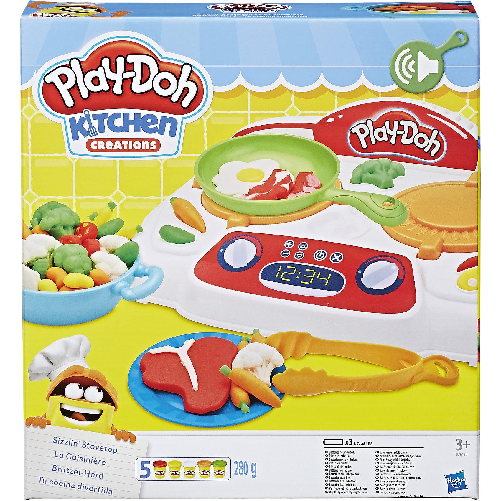 Игровой набор Кухонная плита, Play-DohЛепка<br>Игровой набор Кухонная плита, Play-Doh (Плей До).<br><br>Характеристика: <br><br>• Материал: пластик, пластилин. <br>• Размер упаковки: 31,3x27,6x34,6 см.<br>• В комплекте: электронная плита, 4 тумбы, 2 сковородки, щипцы, шпатель, нож, вилка, и 5 стандартных баночек пластилина . <br>• Отличная детализация. <br>• Яркий привлекательный дизайн. <br>• Элемент питания: 3 АА батарейки (не входят в комплект). <br>• После окончания игры пластилин хранить в плотно закрытой банке. <br>• Лепка отлично развивает моторику рук, воображение, мышление. <br><br>С этим ярким набором от Play-Doh ребенок сможет почувствовать себя настоящим поваром! Отлично проработанные аксессуары и электронная плита сделают игры еще реалистичнее и интереснее. Мягкий пластилин выполнен из высококачественных экологичных материалов при использовании только безопасных нетоксичных красителей. Тесто-пластилин Play-Doh очень пластичное, хорошо смывается с рук и одежды.<br><br>Игровой набор Кухонная плита, Play-Doh (Плей До) можно купить в нашем интернет-магазине.<br><br>Ширина мм: 334<br>Глубина мм: 304<br>Высота мм: 68<br>Вес г: 861<br>Возраст от месяцев: 36<br>Возраст до месяцев: 72<br>Пол: Унисекс<br>Возраст: Детский<br>SKU: 5099881