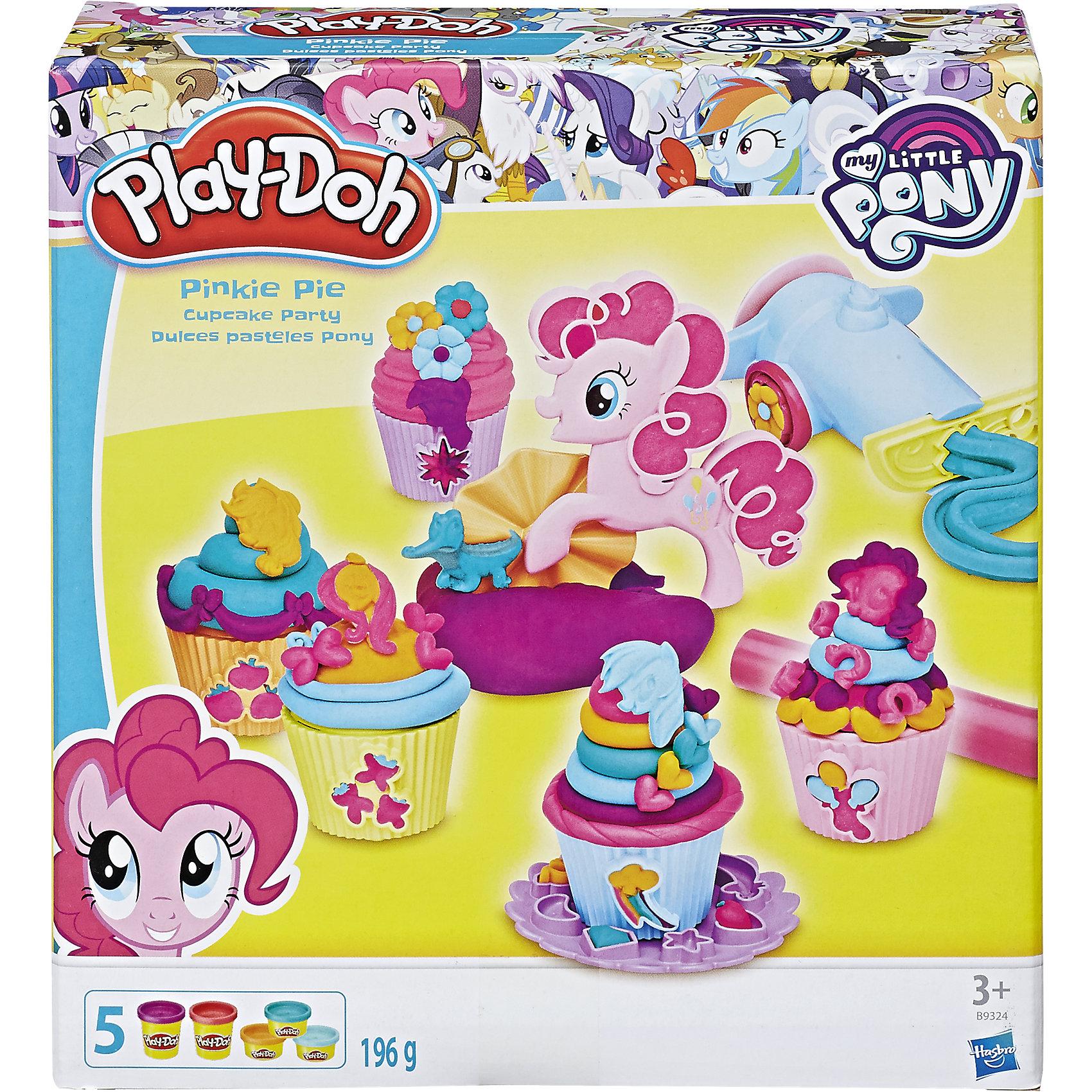 Игровой набор Вечеринка Пинки Пай, My little Pony, Play-DohИгрушки<br>Игровой набор Вечеринка Пинки Пай, My little Pony, Play-Doh. <br><br>Характеристика: <br><br>• Материал: пластик, пластилин. <br>• Размер упаковки: 21x19х6 см.<br>• В комплекте: экструдер, ролик, пресс-формы, формы для кекса, 1 стандартная и 5 небольших банок пластилина .<br>• Отличная детализация. <br>• Яркий привлекательный дизайн. <br>• После окончания игры пластилин хранить в плотно закрытой банке. <br>• Лепка отлично развивает моторику рук, воображение, мышление. <br><br>Игровой набор Вечеринка Пинки Пай обязательно понравится всем поклонницам My little Pony (Моя маленькая Пони). Пинки Пай хочет приготовить вкусные капкейки для своих друзей, скорее помоги ей в этом. В наборе есть все необходимое, чтобы приготовить и украсить отличные кексики. Мягкий пластилин выполнен из высококачественных экологичных материалов при использовании только безопасных нетоксичных красителей. Тесто-пластилин Play-Doh (Плей-До) очень пластичное, хорошо смывается с рук и одежды.<br><br>Игровой набор Вечеринка Пинки Пай, My little Pony (Май литл Пони), Play-Doh, можно купить в нашем интернет-магазине.<br><br>Ширина мм: 217<br>Глубина мм: 200<br>Высота мм: 63<br>Вес г: 489<br>Возраст от месяцев: 36<br>Возраст до месяцев: 72<br>Пол: Женский<br>Возраст: Детский<br>SKU: 5099884