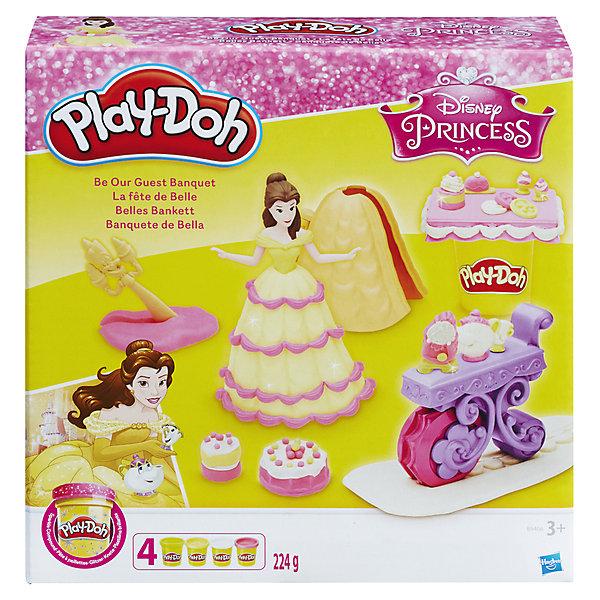 Набор для лепки Hasbro Play-Doh Disney Princess, Банкет БелльНаборы для лепки<br>Герои известных мультфильмов снова с Плей ДО! Игровой набор БАНКЕТ БЕЛЛЬ содержит фигурку Белль ,  бальное платье для декорирования, корзина, аксессуары,  четыре режущих инструментов и 6 банок пластилина<br><br>Ширина мм: 56<br>Глубина мм: 197<br>Высота мм: 203<br>Вес г: 522<br>Возраст от месяцев: 36<br>Возраст до месяцев: 72<br>Пол: Женский<br>Возраст: Детский<br>SKU: 5099885