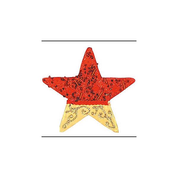 Красное с золотым украшение Звезда 11 смЁлочные игрушки<br>украшение ЗВЕЗДА, 11 см, 1 шт, крас с золот<br><br>Ширина мм: 120<br>Глубина мм: 10<br>Высота мм: 120<br>Вес г: 100<br>Возраст от месяцев: 36<br>Возраст до месяцев: 2147483647<br>Пол: Унисекс<br>Возраст: Детский<br>SKU: 5101016