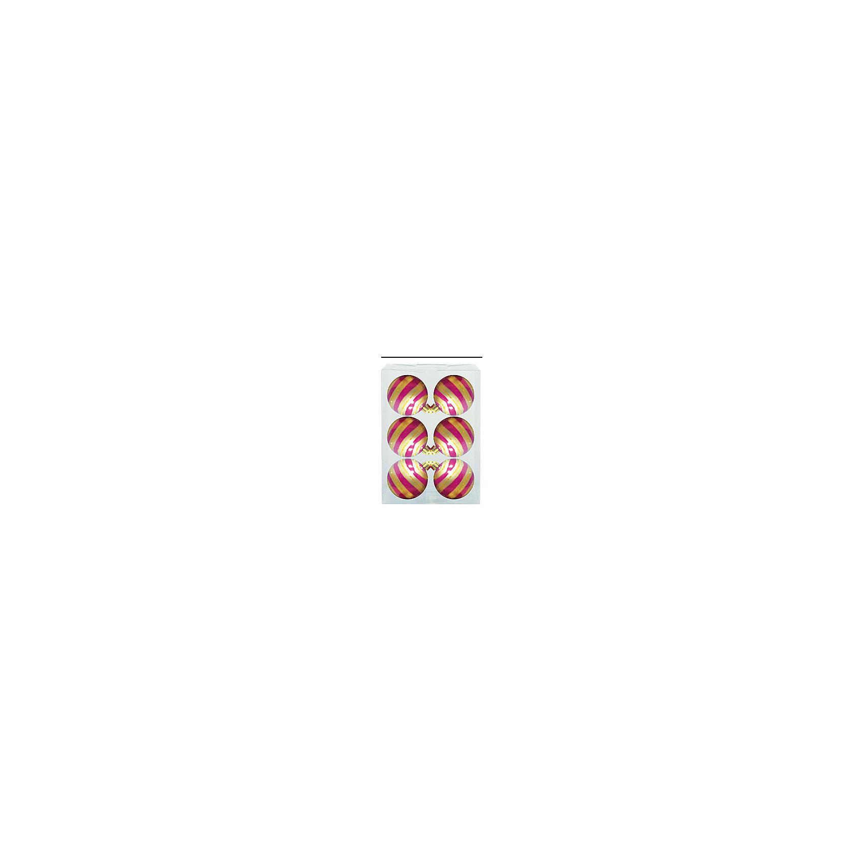 Marko Ferenzo Набор шаров Детский 6 шт, 6 см, розовый глянцевый с узором marko ferenzo набор желудей 3 шт grande 4 см золотой