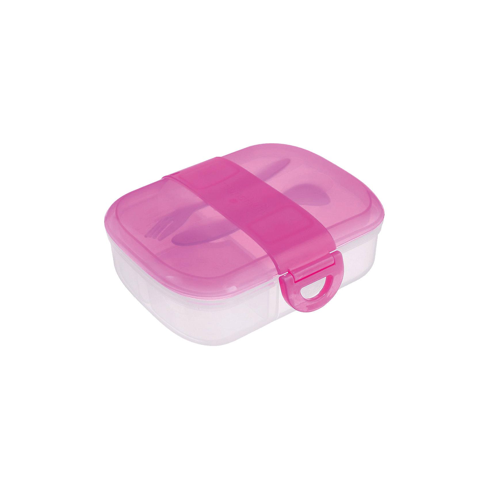 Контейнер для хранения с приборами, Munchkin, розовыйКонтейнер для хранения с приборами, Munchkin (Манчкин) – этот бокс превосходно сохраняет продукты и не дает им перемешиваться.<br>Контейнер для еды Munchkin (Манчкин) выполнен из пластика, не содержит бисфенол А. Контейнер идеально подходит для однодневных поездок, детского сада и дошкольных учреждений. Внутри бокс разделен на 2 маленьких отделения по 118 мл и одно большое. Таким образом, пища не будет смешиваться и для всего найдется удобное место. Крышка с блокировкой помогает предотвратить разливы и рассыпание продуктов. В комплекте имеются приборы: ложка и вилка с закруглёнными краями. Приборы удобно крепятся на крышку контейнера. На дне контейнера можно написать имя ребенка, чтобы малыш не перепутал его в садике или школе. Начиная с 3-х лет, ребенок может пользоваться боксом самостоятельно. Контейнер можно мыть на верхней полке посудомоечной машины.<br><br>Дополнительная информация:<br><br>- Цвет в ассортименте<br>- Материал: пластик<br>- Размер контейнера: 19 х 5 х 14 см.<br>- Размер упаковки: 9 х 17 х 19 см.<br>- Вес: 300 г.<br>- ВНИМАНИЕ! Данный товар представлен в ассортименте. К сожалению, предварительный выбор невозможен. При заказе нескольких единиц данного товара, возможно получение одинаковых<br><br>Контейнер для хранения питания с крышками, ложкой и  вилкой, Munchkin (Манчкин) можно купить в нашем интернет-магазине.<br><br>Ширина мм: 170<br>Глубина мм: 190<br>Высота мм: 90<br>Вес г: 300<br>Возраст от месяцев: 9<br>Возраст до месяцев: 36<br>Пол: Унисекс<br>Возраст: Детский<br>SKU: 5101198