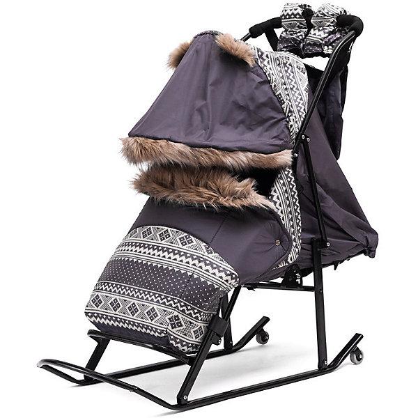 Санки-коляска ABC Academy Скандинавия 1УВ, черная рама, серый