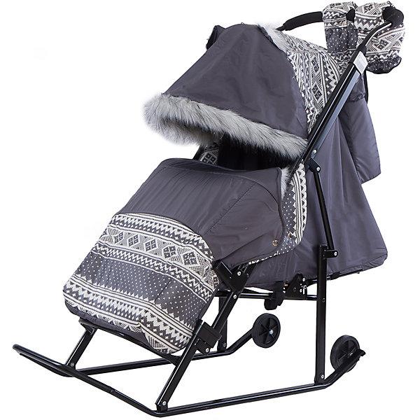 Санки-коляска ABC Academy Скандинавия 2УВ, черная рама, серый