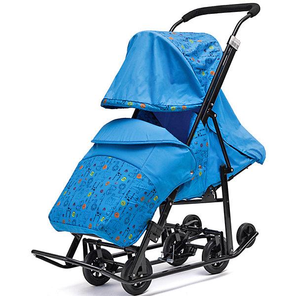 Санки-коляска ABC Academy Зимняя Сказка 1 Люкс, черная рама, голубой/зоопарк