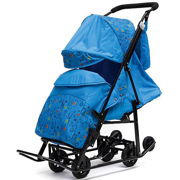 Санки-коляска ABC Academy Зимняя Сказка 2 Люкс, черная рама, голубой/зоопарк