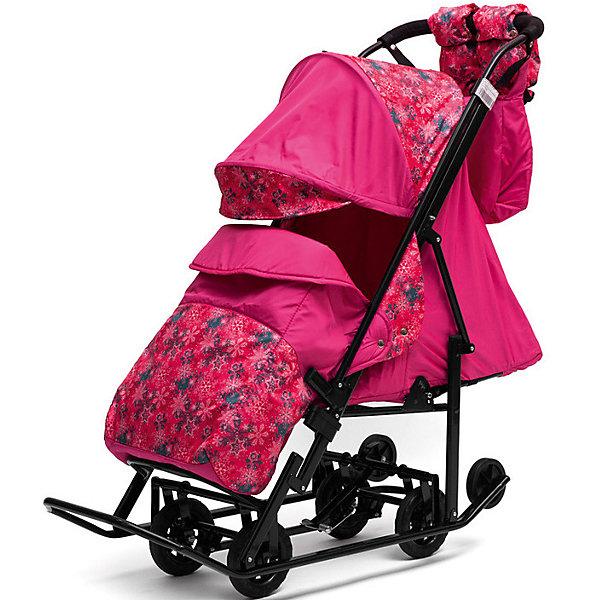 Санки-коляска ABC Academy Зимняя Сказка 3В Люкс, черная рама, розовый/снежинки