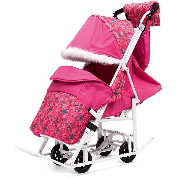 Санки-коляска ABC Academy Зимняя Сказка 5М Люкс, белая рама, розовый/снежинки