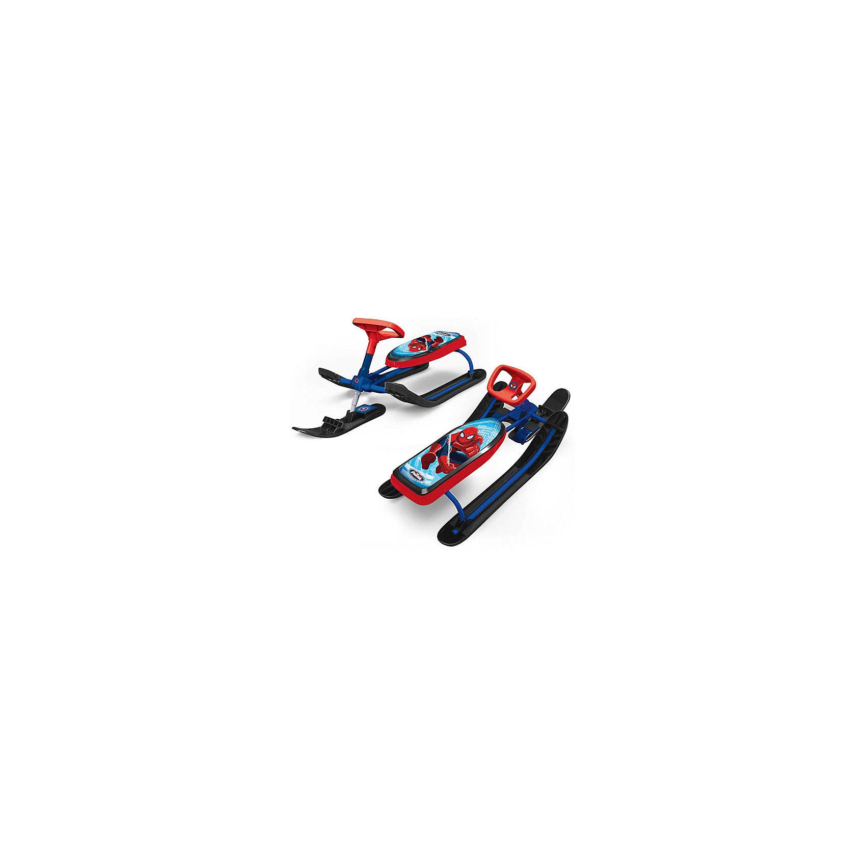 Снегокат Marvel. Человек-паукСнегокат детский в дизайне популярных героев Marvel. Spider-Man рама - синяя. Руль и окантовка сиденья - красные, лыжи - черные. Снегокат имеет передний амортизатор, что позволяет преодолевать небольшие преграды, ножной тормоз. А так же снегокат снабжен веревкой для катания детей с автомотической катушкой.<br><br>Ширина мм: 440<br>Глубина мм: 510<br>Высота мм: 1160<br>Вес г: 8350<br>Возраст от месяцев: 36<br>Возраст до месяцев: 84<br>Пол: Мужской<br>Возраст: Детский<br>SKU: 5103186