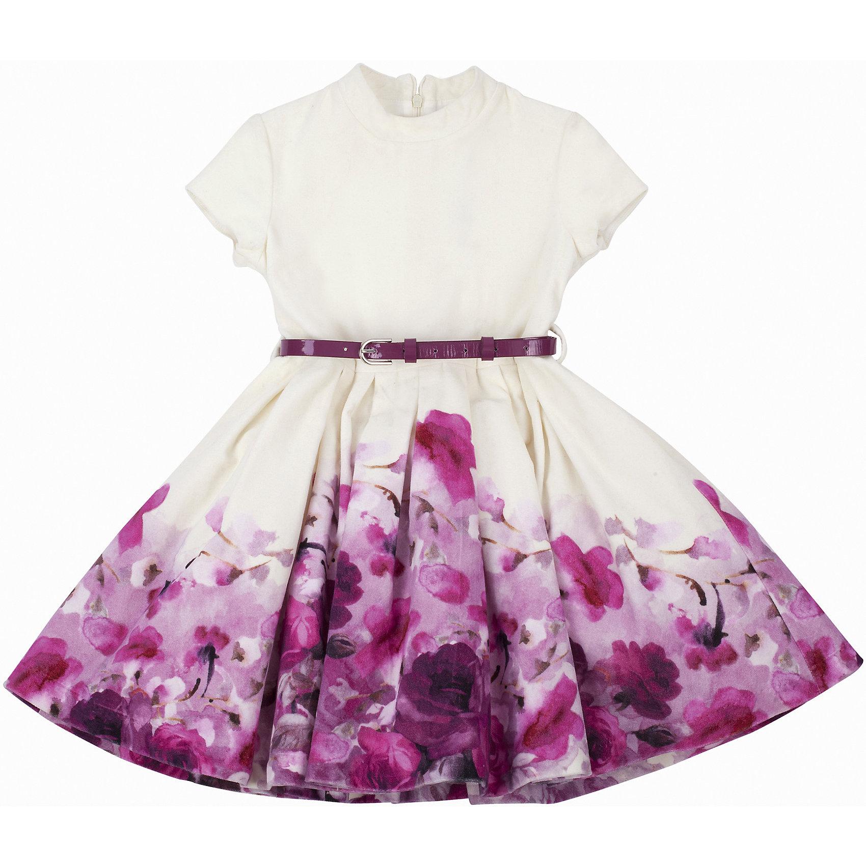 Нарядное платье для девочки GulliverПлатье для девочки от известного бренда Gulliver.<br>Ох уж, эти модницы… Их гардероб пестрит нарядами, но разве можно пройти мимо нового платья? Платья для девочек - предмет их особой гордости! Платья - символ женственности и красоты! Если вы хотите порадовать ребенка интересной обновой, вам нужно купить модное платье! Красивое платье из нежного велюра с коротким рукавом и элегантной стойкой построено на сочетании молочной глади и яркого цветочного рисунка. Расклешенная форма, красивый объем, полученный благодаря двухъярусному подъюбнику из сетки, делают платье очень элегантным и выразительным. Выполненное из 100% хлопка, платье подарит комфорт и отличное настроение. Тонкий лаковый поясок подчеркнет красоту и грациозность его обладательницы.<br>Состав:<br>верх: 100% хлопок; подкладка: 100% хлопок<br><br>Ширина мм: 236<br>Глубина мм: 16<br>Высота мм: 184<br>Вес г: 177<br>Цвет: белый<br>Возраст от месяцев: 36<br>Возраст до месяцев: 48<br>Пол: Женский<br>Возраст: Детский<br>Размер: 116,110,104,98<br>SKU: 5103469