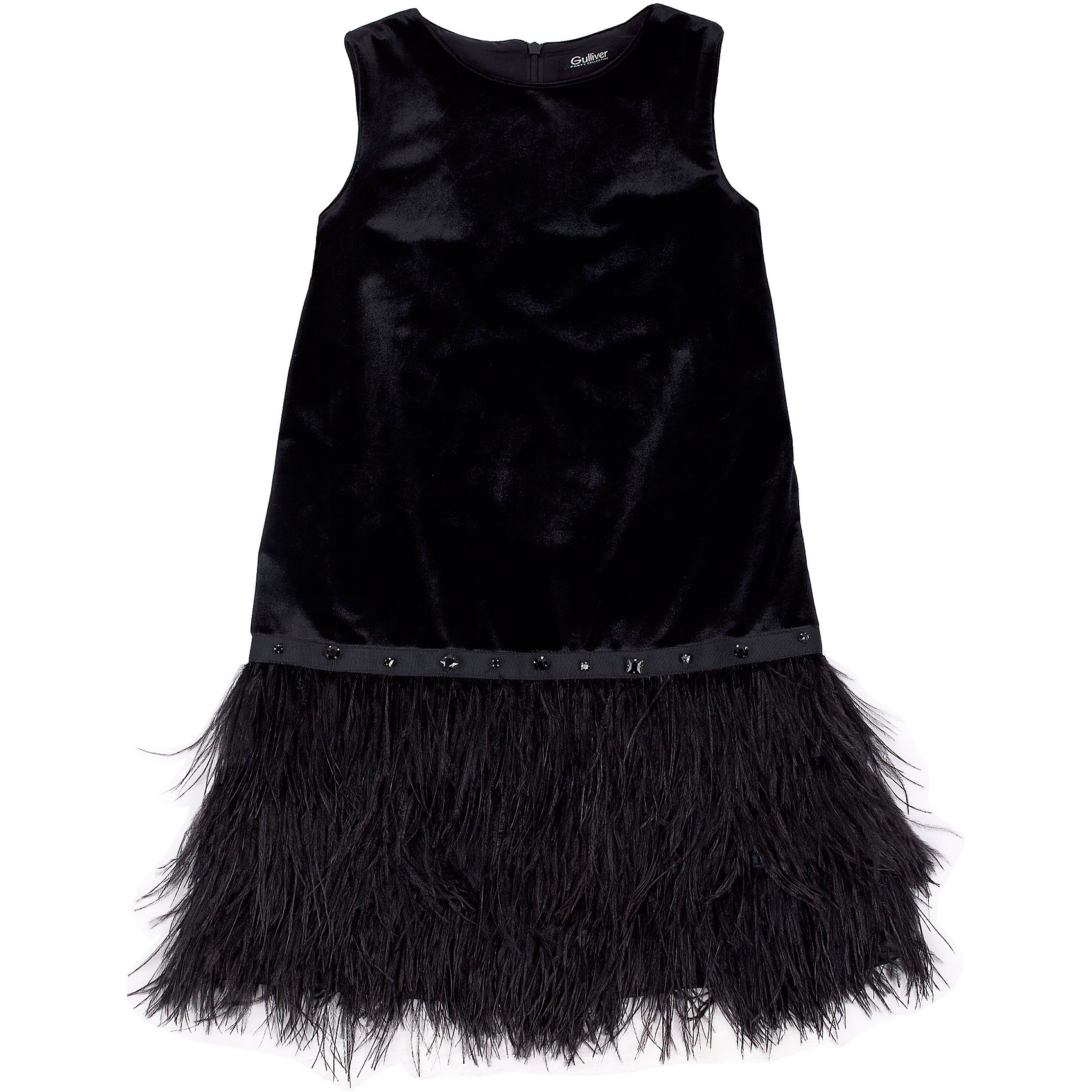 Нарядное платье для девочки GulliverОдежда<br>Платье для девочки от известного бренда Gulliver.<br>Ох уж, эти модницы… Их гардероб пестрит нарядами, но разве можно пройти мимо нового платья? Нарядные платья для девочек - предмет их особой гордости! Они - символ женственности и кокетства! Если вы хотите сделать праздник своего ребенка ярким и запоминающимся, вам нужно купить модное новогоднее платье! Шикарное платье из бархата и перьев сделает образ девочки по-настоящему нарядным. Это платье туникообразной формы - идеальный  вариант для камерного домашнего вечера, похода в театр или на концерт. В отделке платья пояс, расшитый стразами и стеклярусом.<br>Состав:<br>верх: 95% полиэстер 5% эластан; подкладка: 100% хлопок<br><br>Ширина мм: 236<br>Глубина мм: 16<br>Высота мм: 184<br>Вес г: 177<br>Цвет: черный<br>Возраст от месяцев: 72<br>Возраст до месяцев: 84<br>Пол: Женский<br>Возраст: Детский<br>Размер: 122,140,128,134<br>SKU: 5103484