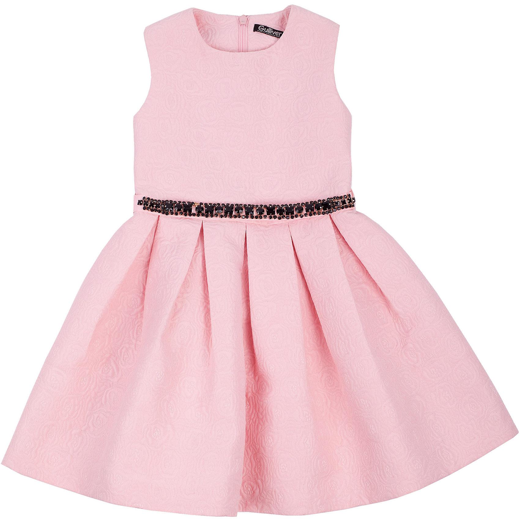Нарядное платье для девочки GulliverОдежда<br>Платье для девочки от известного бренда Gulliver.<br>Какими должны быть нарядные платья 2016/2017? Разными! Кто-то предпочитает купить платье  - пышную модель как у настоящей принцессы, но кто-то выбирает стильные лаконичные решения с изюминкой и загадкой. Нежное розовое платье из благородного жаккардового полотна - идеальный вариант для тех, кто ценит изящество и элегантность. Черный пояс, расшитый стразами подчеркнет торжественность момента.<br>Состав:<br>верх: 100% полиэстер; подкладка: 100% хлопок<br><br>Ширина мм: 236<br>Глубина мм: 16<br>Высота мм: 184<br>Вес г: 177<br>Цвет: розовый<br>Возраст от месяцев: 24<br>Возраст до месяцев: 36<br>Пол: Женский<br>Возраст: Детский<br>Размер: 98,104,110,116<br>SKU: 5103499