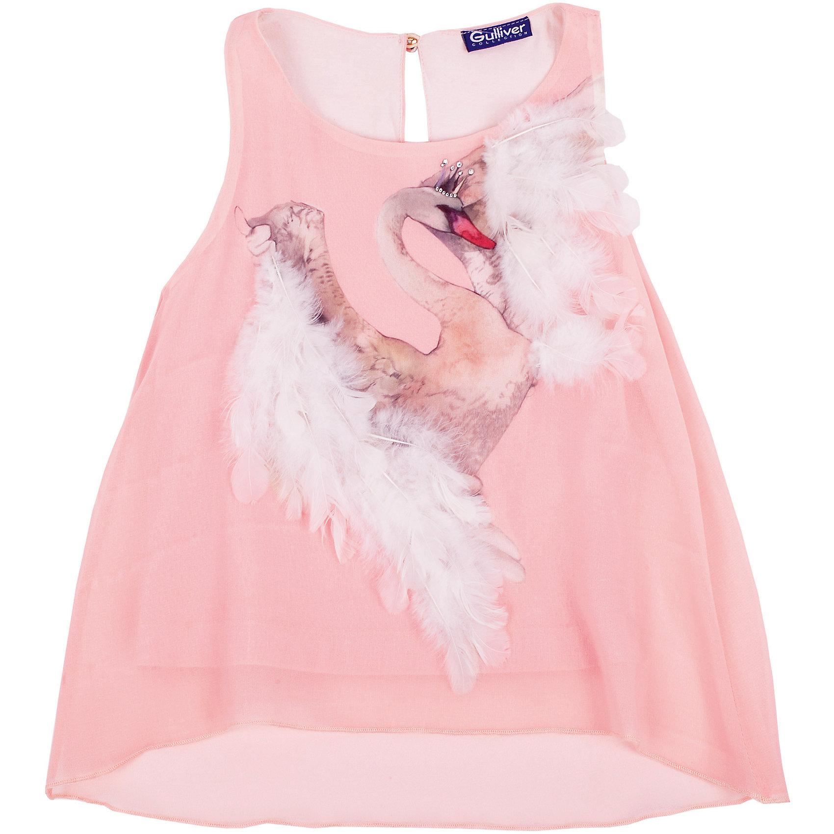 Блузка для девочки GulliverБлузки и рубашки<br>Блузка для девочки от известного бренда Gulliver.<br>Подготовка к празднику - приятные хлопоты! Если вы хотите сделать праздничный день радостным и ярким, вам стоит купить элегантную персиковую  блузку с нежным  декором. Блузка оформлена интересным акварельным принтом, расшитым натуральными перьями. В нем легкость птичьего полета, грациозность, изящество. Конечно, такая вещь требует деликатного отношения, но ведь и праздники случаются не каждый день? Эта модель - лучший выбор блузки для девочки. Она сделает образ ребенка нежным, утонченным, изысканным.<br>Состав:<br>верх: 100% полиэстер; подкладка: 76% вискоза 19% полиэстер 5% эластан<br><br>Ширина мм: 186<br>Глубина мм: 87<br>Высота мм: 198<br>Вес г: 197<br>Цвет: розовый<br>Возраст от месяцев: 24<br>Возраст до месяцев: 36<br>Пол: Женский<br>Возраст: Детский<br>Размер: 98,104,110,116<br>SKU: 5103504