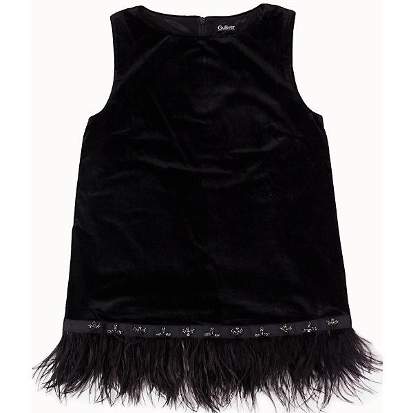 Блузка для девочки GulliverБлузки и рубашки<br>Блузка для девочки от известного бренда Gulliver.<br>Ох уж, эти модницы… Их гардероб пестрит нарядами, но разве можно пройти мимо новой блузки? Оригинальные и экстравагантные блузки - предмет их особой гордости! Если вы хотите быть на одной волне с девочкой-подростком, вам стоит купить черную блузку из бархата и перьев! В компании с блестящими брюками, блузка будет выглядеть безупречно, создавая красивый благородный комплект. Также, она вполне уместна в сочетании с джинсами. Это будет выглядеть менее пафосно, но не менее стильно и привлекательно!<br>Состав:<br>верх: 95% полиэстер 5% эластан; подкладка: 100% полиэстер<br><br>Ширина мм: 186<br>Глубина мм: 87<br>Высота мм: 198<br>Вес г: 197<br>Цвет: черный<br>Возраст от месяцев: 132<br>Возраст до месяцев: 144<br>Пол: Женский<br>Возраст: Детский<br>Размер: 152,164,146,158<br>SKU: 5103524