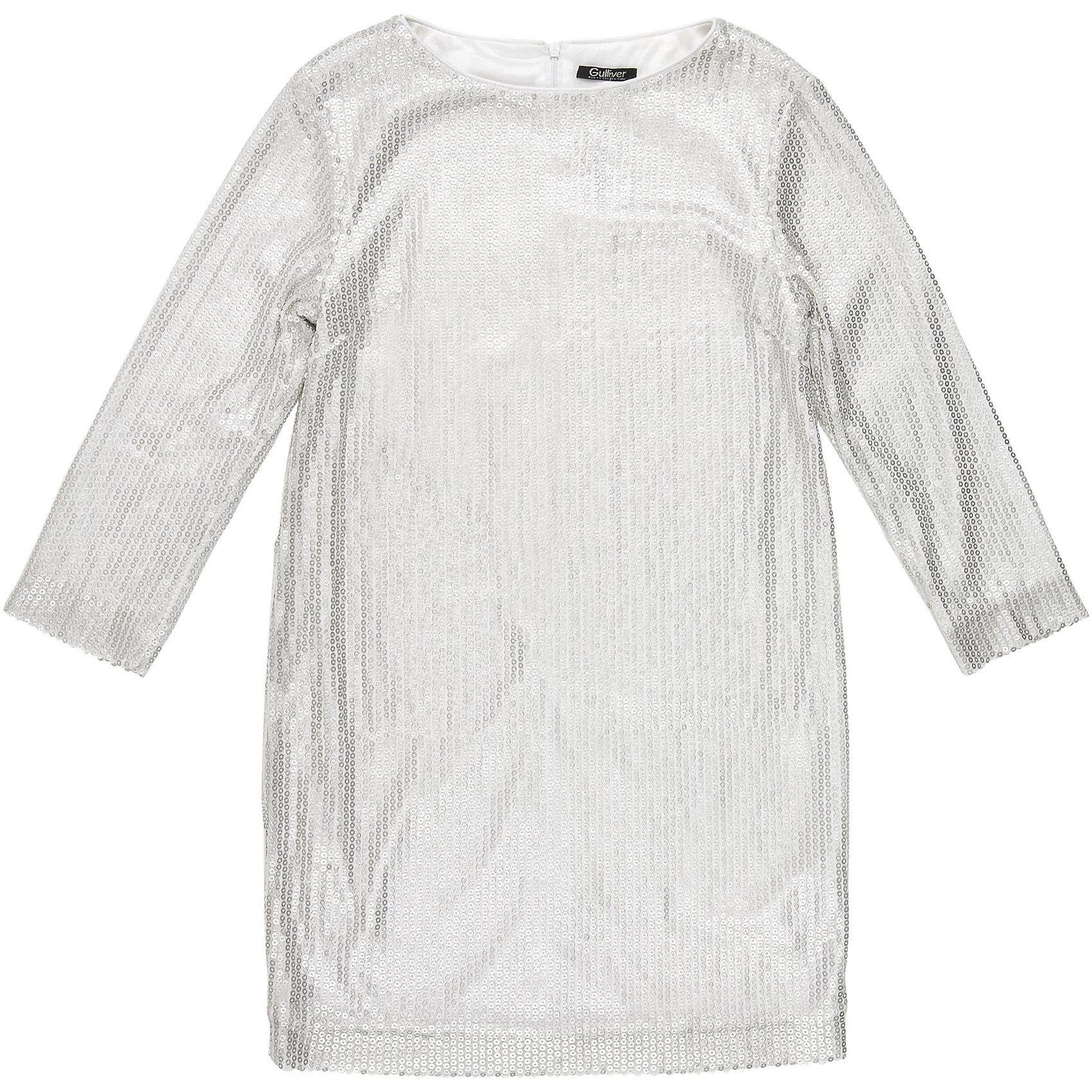 Нарядное платье для девочки GulliverОдежда<br>Платье для девочки от известного бренда Gulliver.<br>Простое, прямое, лаконичное платье из серебристых пайеток смотрится безупречно. Деликатный блеск, идеальная форма модели - такими и должны быть модные нарядные платья без лишнего пафоса.<br>Состав:<br>верх: 100% полиэстер; подкладка: 100% полиэстер<br><br>Ширина мм: 236<br>Глубина мм: 16<br>Высота мм: 184<br>Вес г: 177<br>Цвет: белый<br>Возраст от месяцев: 156<br>Возраст до месяцев: 168<br>Пол: Женский<br>Возраст: Детский<br>Размер: 164,146,152,158<br>SKU: 5103529