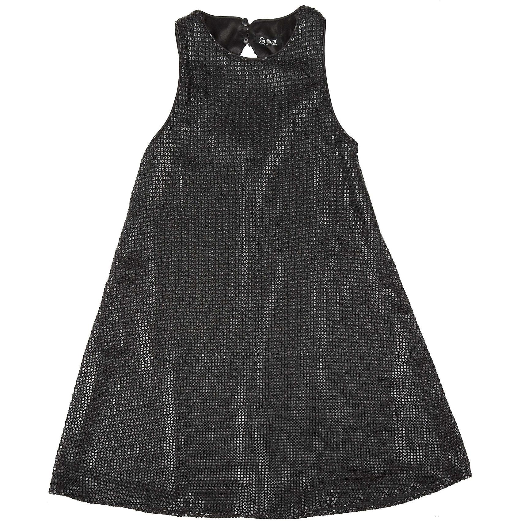 Нарядное платье для девочки GulliverОдежда<br>Платье для девочки от известного бренда Gulliver.<br>Легкое  трапециевидное платье из черных пайеток смотрится безупречно! Деликатный блеск, идеальная форма модели - такими и должны быть модные нарядные платья без лишнего пафоса.<br>Состав:<br>верх: 100% полиэстер; подкладка: 100% полиэстер<br><br>Ширина мм: 236<br>Глубина мм: 16<br>Высота мм: 184<br>Вес г: 177<br>Цвет: серый<br>Возраст от месяцев: 132<br>Возраст до месяцев: 144<br>Пол: Женский<br>Возраст: Детский<br>Размер: 152,158,164,146<br>SKU: 5103539