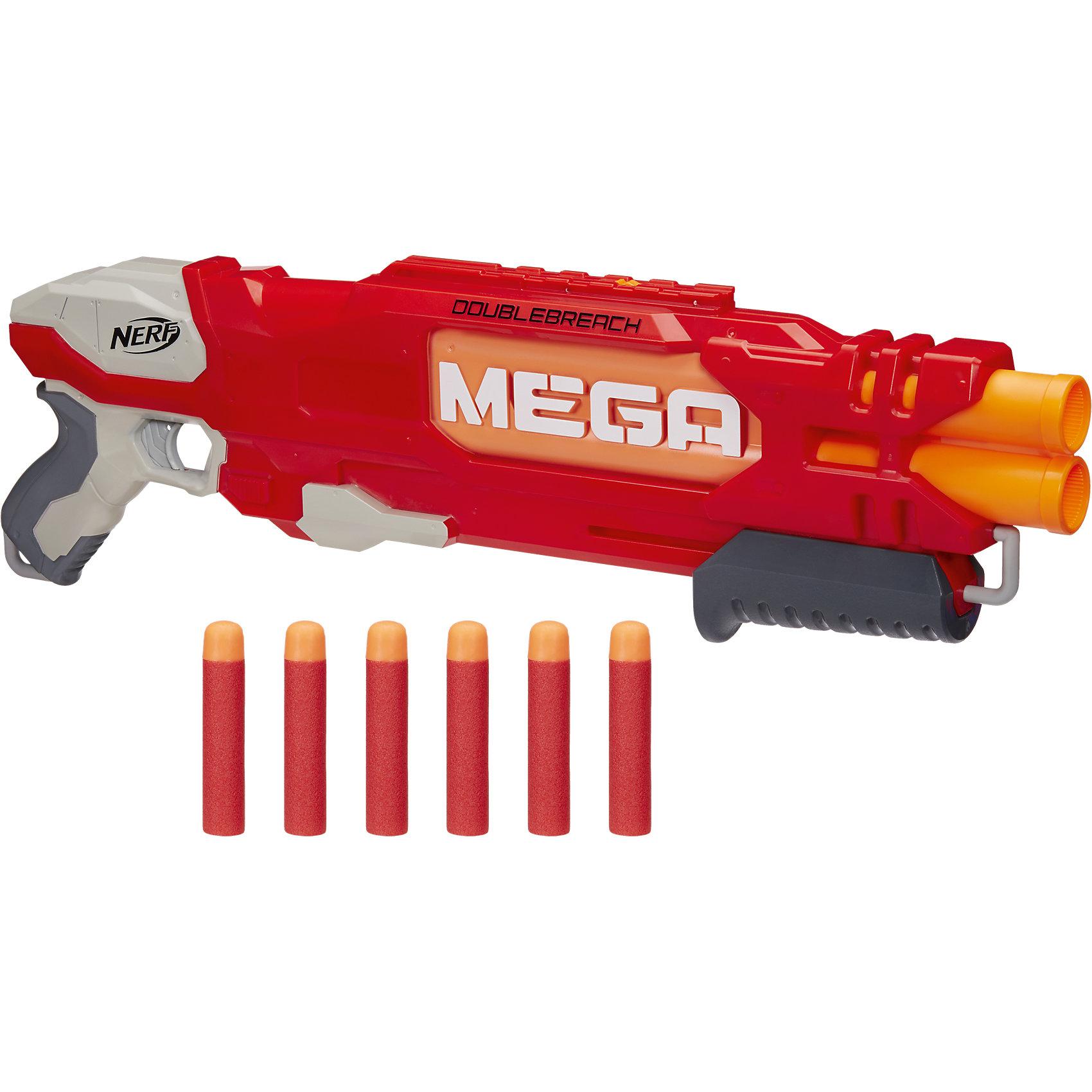Бластер Hasbro Nerf Mega ДаблбричБластеры, пистолеты и прочее<br>Характеристики товара:<br><br>• возраст: от 8 лет;<br>• материал: пластик;<br>• в комплекте: бластер, 6 стрел, инструкция;<br>• дальность стрельбы: 23 метра;<br>• размер упаковки: 30,5х60,6х6 см;<br>• вес упаковки: 1,15 кг;<br>• страна производитель: Китай.<br><br>Бластер «Даблбрич» Nerf Hasbro — увлекательное оружие, которое позволит мальчишкам придумать невероятные сюжеты для игры и устроить настоящие сражения. Бластер можно использовать как дома, так и разнообразить игры на свежем воздухе. Бластер отличается небольшим весом. Благодаря удобной рукоятке его легко держать в руках, и он не выскальзывает.<br><br>В набор входят 6 снарядов. У бластера сразу 2 дула, из которых одновременно могут лететь 2 снаряда. При выстреле слышен свистящий звук. Стрелы способны лететь на расстояние до 23 метров. Каждая стрела имеет специальную мягкую поролоновую оболочку, которая защищает от случайных повреждений.<br><br>Бластер «Даблбрич» Nerf Hasbro B9789 можно приобрести в нашем интернет-магазине.<br><br>Ширина мм: 609<br>Глубина мм: 309<br>Высота мм: 63<br>Вес г: 1020<br>Возраст от месяцев: 96<br>Возраст до месяцев: 2147483647<br>Пол: Мужской<br>Возраст: Детский<br>SKU: 5104314