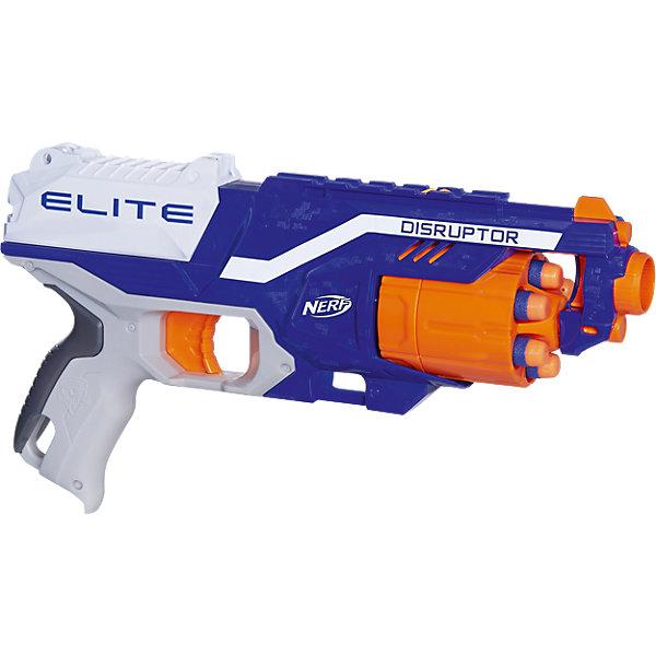 Бластер Элит Дисраптор, Nerf, HasbroИгрушечное оружие<br>Характеристики товара:<br><br>• возраст от 8 лет<br>• материал: пластик, резина<br>• в комплекте: бластер, 6 стрел, инструкция<br>• дальность действия: 27 м (дальность стрельбы)<br>• модель: Дисраптор (Disruptor)<br>• размер упаковки 31х22х7 см<br>• упаковка: картонная коробка открытого типа<br>• страна бренда: США<br>• страна производитель: Китай<br><br>Бластер Элит Диструптор Nerf Hasbro — увлекательная игрушка для юных любителей устраивать настоящие сражения. Бластер оснащен удобной ручкой и барабаном на 6 патронов. Стрелы могут лететь на расстояние до 26 метров. Бластер разнообразит сюжетно-ролевые игры детей и подростков.<br><br>Бластер изготовлен из качественного пластика. Наконечники стрел сделаны из вспененной резины, поэтому они не поранят и не причинят травм. <br><br>Бластер Элит Диструптор Nerf Hasbro можно приобрести в нашем интернет-магазине.<br>Ширина мм: 320; Глубина мм: 223; Высота мм: 76; Вес г: 494; Возраст от месяцев: 96; Возраст до месяцев: 144; Пол: Мужской; Возраст: Детский; SKU: 5104315;
