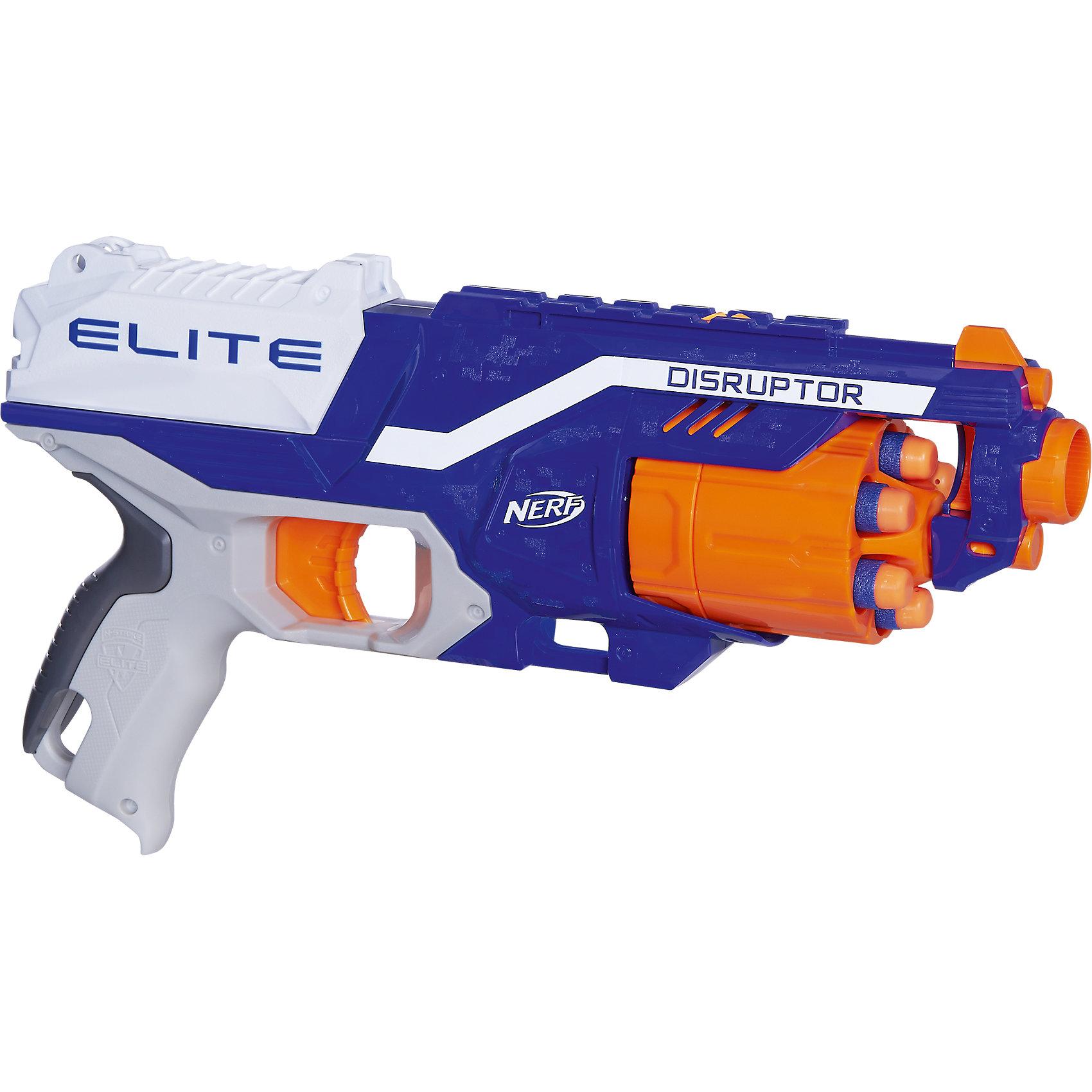 Бластер Элит Дисраптор, Nerf, HasbroБластеры, пистолеты и прочее<br>Характеристики товара:<br><br>• возраст от 8 лет<br>• материал: пластик, резина<br>• в комплекте: бластер, 6 стрел, инструкция<br>• дальность действия: 27 м (дальность стрельбы)<br>• модель: Дисраптор (Disruptor)<br>• размер упаковки 31х22х7 см<br>• упаковка: картонная коробка открытого типа<br>• страна бренда: США<br>• страна производитель: Китай<br><br>Бластер Элит Диструптор Nerf Hasbro — увлекательная игрушка для юных любителей устраивать настоящие сражения. Бластер оснащен удобной ручкой и барабаном на 6 патронов. Стрелы могут лететь на расстояние до 26 метров. Бластер разнообразит сюжетно-ролевые игры детей и подростков.<br><br>Бластер изготовлен из качественного пластика. Наконечники стрел сделаны из вспененной резины, поэтому они не поранят и не причинят травм. <br><br>Бластер Элит Диструптор Nerf Hasbro можно приобрести в нашем интернет-магазине.<br><br>Ширина мм: 320<br>Глубина мм: 223<br>Высота мм: 76<br>Вес г: 494<br>Возраст от месяцев: 96<br>Возраст до месяцев: 144<br>Пол: Мужской<br>Возраст: Детский<br>SKU: 5104315