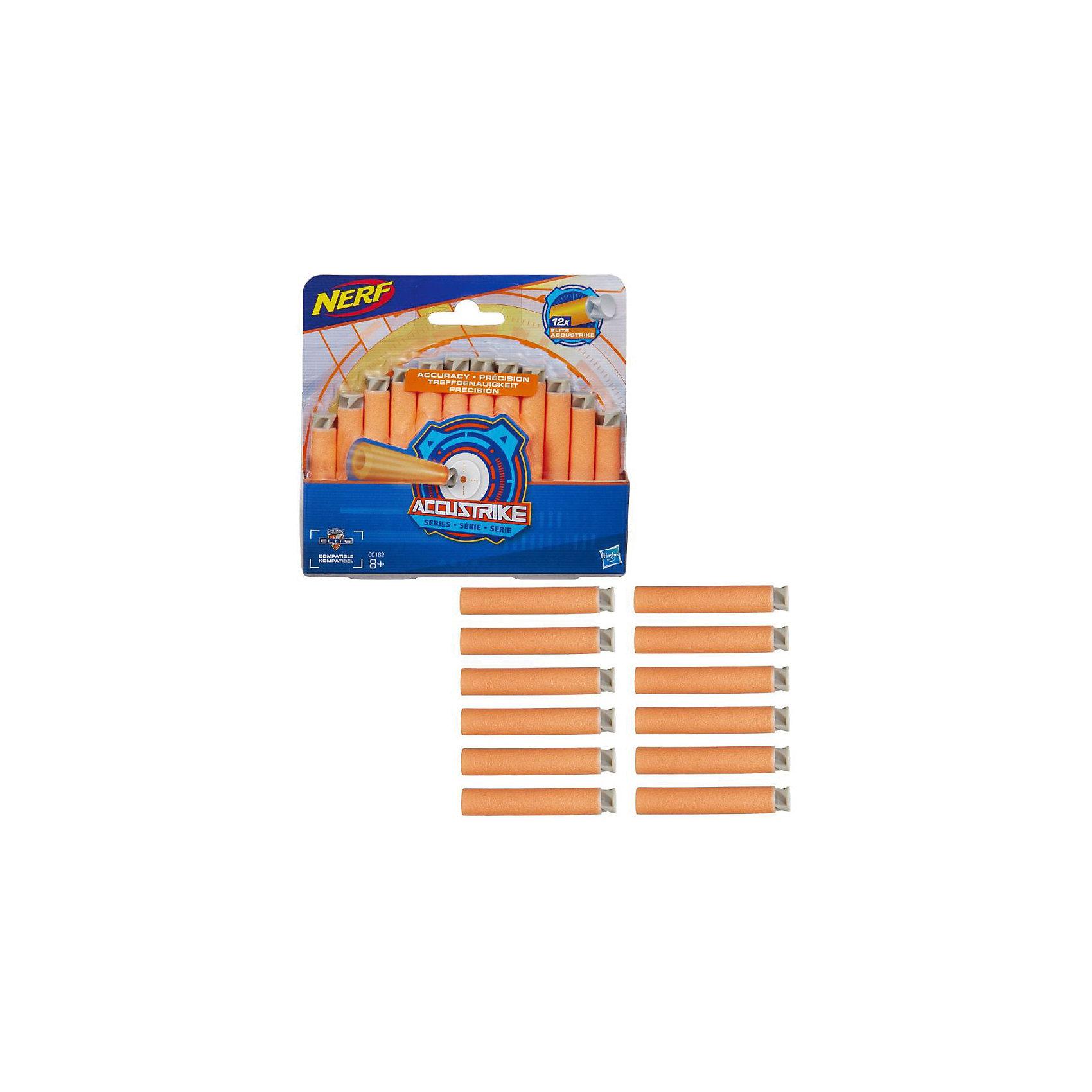 Стрелы Hasbro Nerf Аккустрайк, 12 стрелСюжетно-ролевые игры<br>Характеристики товара:<br><br>• возраст: от 8 лет;<br>• материал: пластик;<br>• в комплекте: 12 стрел;<br>• длина стрелы: 7 см;<br>• размер упаковки: 21,4х15,2х17,3 см;<br>• вес упаковки: 620 гр.;<br>• страна производитель: Китай.<br><br>Стрелы «Аккустрайк» Nerf Hasbro подходят для бластеров Аккустрайк, Модулус, Элит и Зомби Страйк. Они позволят мальчишкам разнообразить игры на свежем воздухе, устроить невероятные космические бои или соревнования на звание самого меткого стрелка. Стрелы выполнены в ярком оранжевом цвете, что позволяет легко найти их на земле или в траве. <br><br>Стрелы «Аккустрайк» Nerf Hasbro C0162 можно приобрести в нашем интернет-магазине.<br><br>Ширина мм: 167<br>Глубина мм: 154<br>Высота мм: 27<br>Вес г: 48<br>Возраст от месяцев: 96<br>Возраст до месяцев: 2147483647<br>Пол: Мужской<br>Возраст: Детский<br>SKU: 5104318