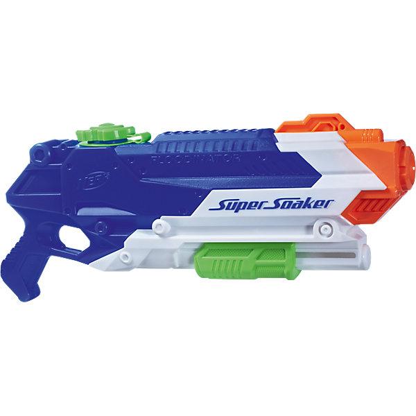 Бластер Nerf Super Soaker FloodinatorИгрушечные пистолеты и бластеры<br>Характеристики товара:<br><br>• возраст: от 6 лет;<br>• материал: пластик;<br>• в комплекте: бластер;<br>• размер упаковки: 48,7х30,5х8 см;<br>• вес упаковки: 820 гр.<br><br>Бластер Nerf Super Soaker Floodinator — водный бластер для активных игр летом на свежем воздухе. Он способен стрелять на расстояние до 10 метров. Бластер оснащен удобной рукояткой и резервуаром для воды, вмещающим целых 2 литра. Для того, чтобы выпустить струю воды, нужно потянуть рычажок внизу бластера. Выполнен бластер из качественного пластика.<br><br>Бластер Nerf Super Soaker Floodinator можно приобрести в нашем интернет-магазине.<br>Ширина мм: 487; Глубина мм: 302; Высота мм: 90; Вес г: 830; Возраст от месяцев: 84; Возраст до месяцев: 144; Пол: Мужской; Возраст: Детский; SKU: 5104334;