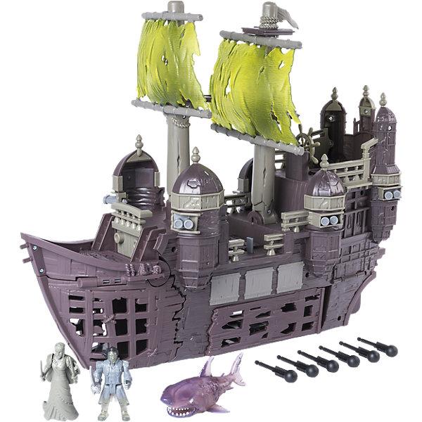 Игрушка Пиратский корабль Немая Мария, Spin Master, Пираты Карибского моряИгровые наборы с фигурками<br>Характеристики товара:<br><br>• возраст: от 4 лет;<br>• материал: пластик;<br>• в комплекте: корабль, акула, снаряды, фигурка Салазара, носовая фигурка корабля;<br>• длина корабля: 50 см;<br>• размер упаковки: 53х46х21 см;<br>• вес упаковки: 3,04 кг;<br>• страна производитель: Китай.<br><br>Игрушка «Пиратский корабль Немая Мария» Пираты Карибского моря Spin Master создана по мотивам известного фильма «Пираты Карибского моря: Мертвецы не рассказывают сказки». Корабль капитана Салазара Немая Мария когда-то был частью испанского флота, а затем был атакован Джеком Воробьем и исчез в Бермудском треугольнике.<br><br>Корабль и все члены его экипажа превратились в призраков, а капитан Салазар отправился на поиски Джека Воробья. На носовую часть корабля крепится фигурка женщины, которая в фильме оживает и помогает Салазару в сражениях. Трюм корабля открывается. А пушки стреляют снарядами.<br><br>Игрушку «Пиратский корабль Немая Мария» Пираты Карибского моря Spin Master можно приобрести в нашем интернет-магазине.<br><br>Ширина мм: 535<br>Глубина мм: 451<br>Высота мм: 218<br>Вес г: 3053<br>Возраст от месяцев: 48<br>Возраст до месяцев: 96<br>Пол: Мужской<br>Возраст: Детский<br>SKU: 5104678