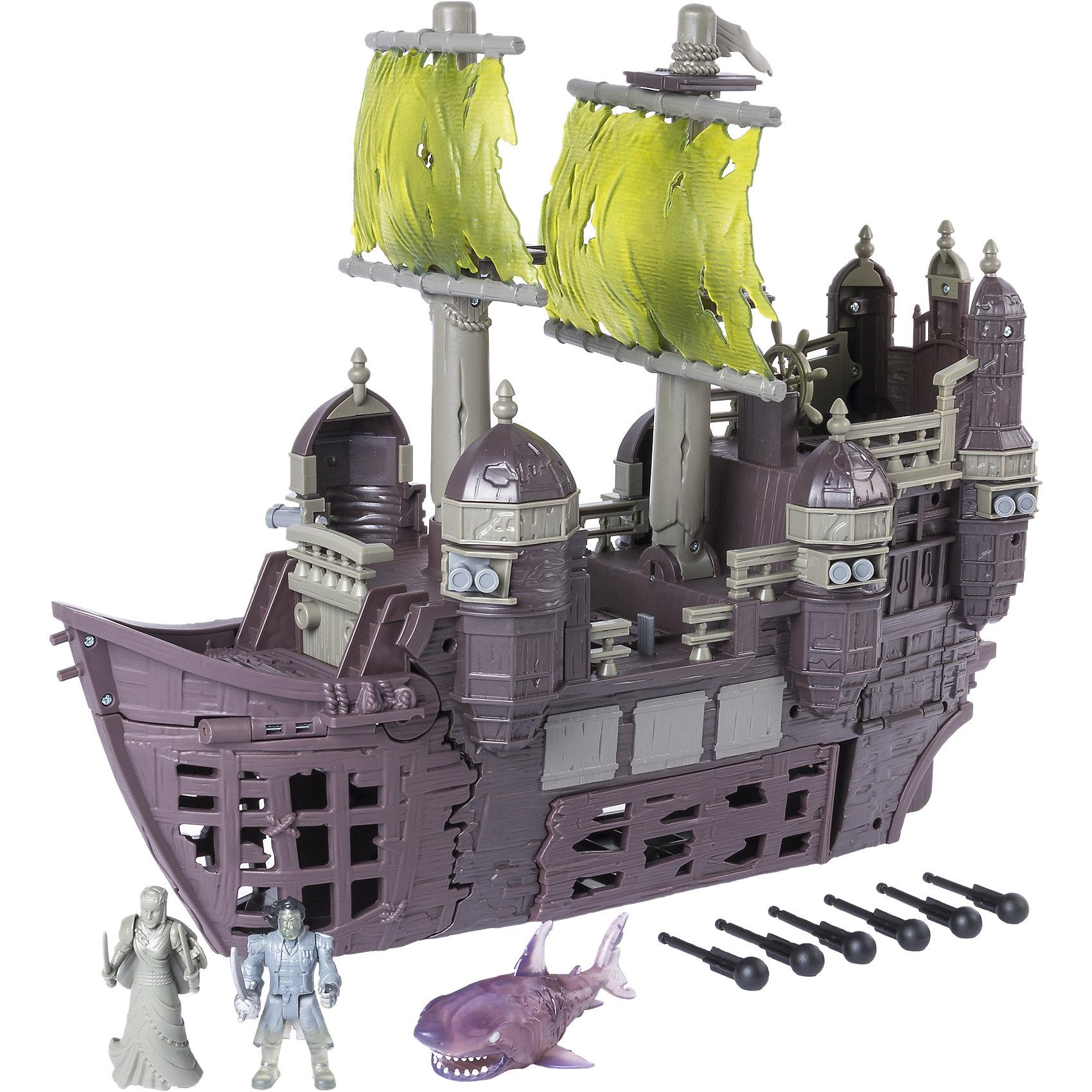 Игрушка Пиратский корабль Немая Мария, Spin Master, Пираты Карибского моряИгровые наборы фигурок<br>Характеристики товара:<br><br>• возраст: от 4 лет;<br>• материал: пластик;<br>• в комплекте: корабль, акула, снаряды, фигурка Салазара, носовая фигурка корабля;<br>• длина корабля: 50 см;<br>• размер упаковки: 53х46х21 см;<br>• вес упаковки: 3,04 кг;<br>• страна производитель: Китай.<br><br>Игрушка «Пиратский корабль Немая Мария» Пираты Карибского моря Spin Master создана по мотивам известного фильма «Пираты Карибского моря: Мертвецы не рассказывают сказки». Корабль капитана Салазара Немая Мария когда-то был частью испанского флота, а затем был атакован Джеком Воробьем и исчез в Бермудском треугольнике.<br><br>Корабль и все члены его экипажа превратились в призраков, а капитан Салазар отправился на поиски Джека Воробья. На носовую часть корабля крепится фигурка женщины, которая в фильме оживает и помогает Салазару в сражениях. Трюм корабля открывается. А пушки стреляют снарядами.<br><br>Игрушку «Пиратский корабль Немая Мария» Пираты Карибского моря Spin Master можно приобрести в нашем интернет-магазине.<br><br>Ширина мм: 535<br>Глубина мм: 451<br>Высота мм: 218<br>Вес г: 3053<br>Возраст от месяцев: 48<br>Возраст до месяцев: 96<br>Пол: Мужской<br>Возраст: Детский<br>SKU: 5104678