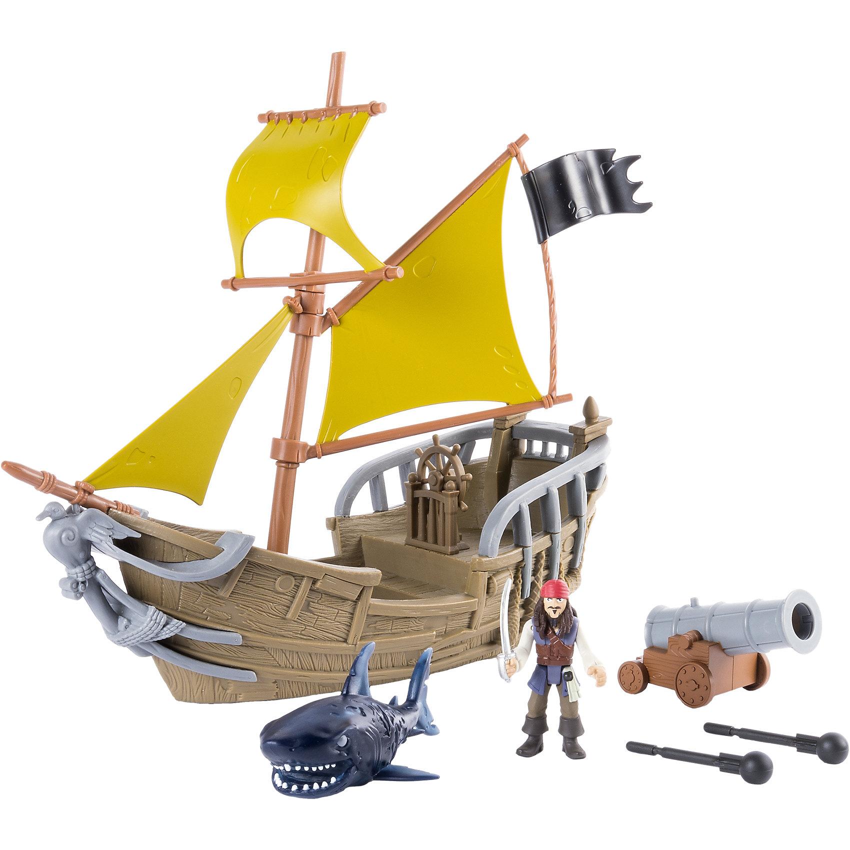 Игрушка Корабль Джека Воробья, Spin Master, Пираты Карибского моряКорабли и лодки<br>Характеристики товара:<br><br>• возраст: от 4 лет;<br>• материал: пластик;<br>• в комплекте: корабль, акула, снаряды, фигурка Джека Воробья;<br>• длина корабля: 30 см;<br>• размер упаковки: 39х31х13 см;<br>• вес упаковки: 740 гр.;<br>• страна производитель: Китай.<br><br>Игрушка «Корабль Джека Воробья» Пираты Карибского моря Spin Master создана по мотивам известного фильма «Пираты Карибского моря: Мертвецы не рассказывают сказки». В фильме у Джека Воробья новый корабль. У корабля желтые паруса и черный флаг. На борту его стоит пушка, которая стреляет снарядами.<br><br>Игрушку «Корабль Джека Воробья» Пираты Карибского моря Spin Master можно приобрести в нашем интернет-магазине.<br><br>Ширина мм: 405<br>Глубина мм: 314<br>Высота мм: 139<br>Вес г: 751<br>Возраст от месяцев: 48<br>Возраст до месяцев: 96<br>Пол: Мужской<br>Возраст: Детский<br>SKU: 5104679